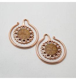 "Maya Jewelry Maya Rose Gold Plate & Coral ""Eye of the Dandelion"""