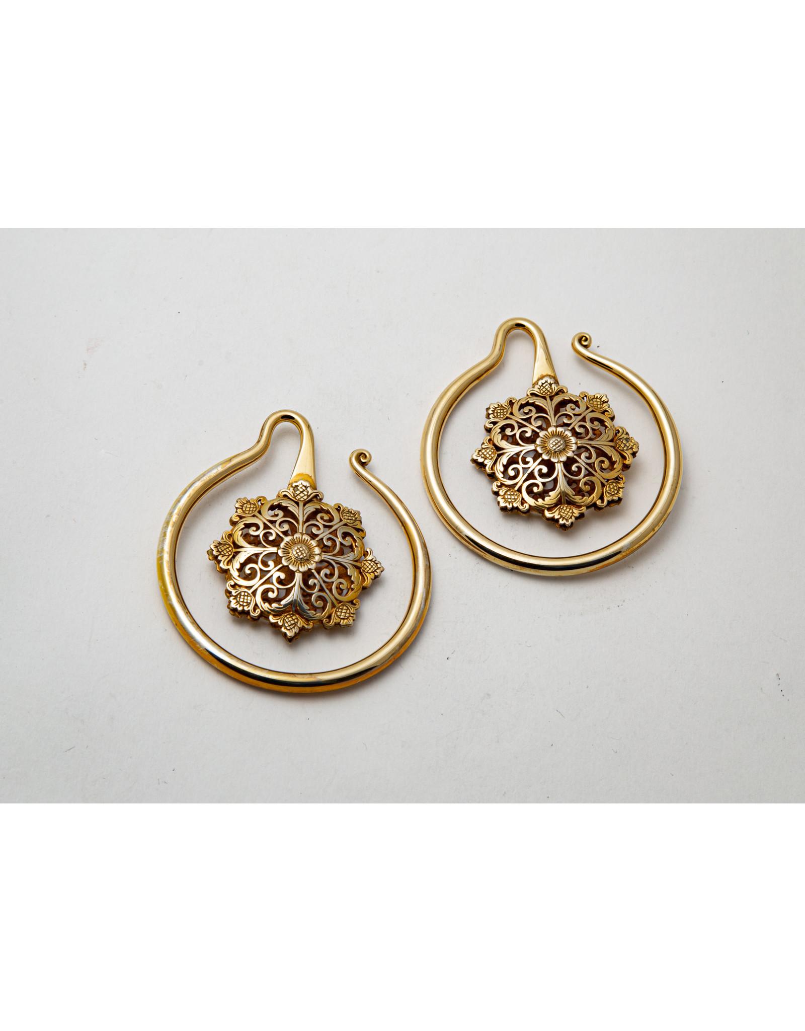 "Maya Jewelry Maya yellow gold plate ""Crop Circle"" hanging design"