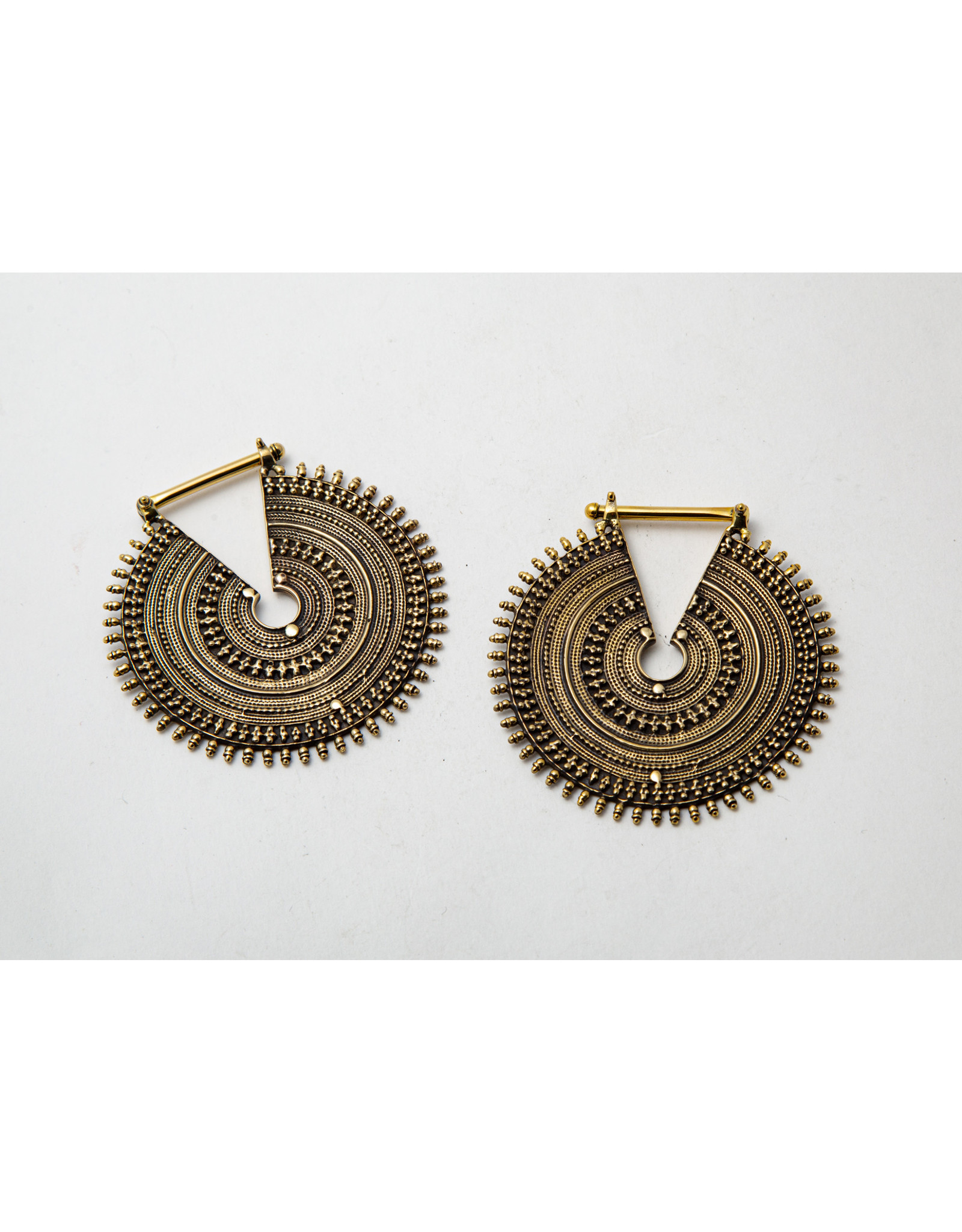 "Maya Jewelry Maya unplated brass large ""Queens"" hanging design"