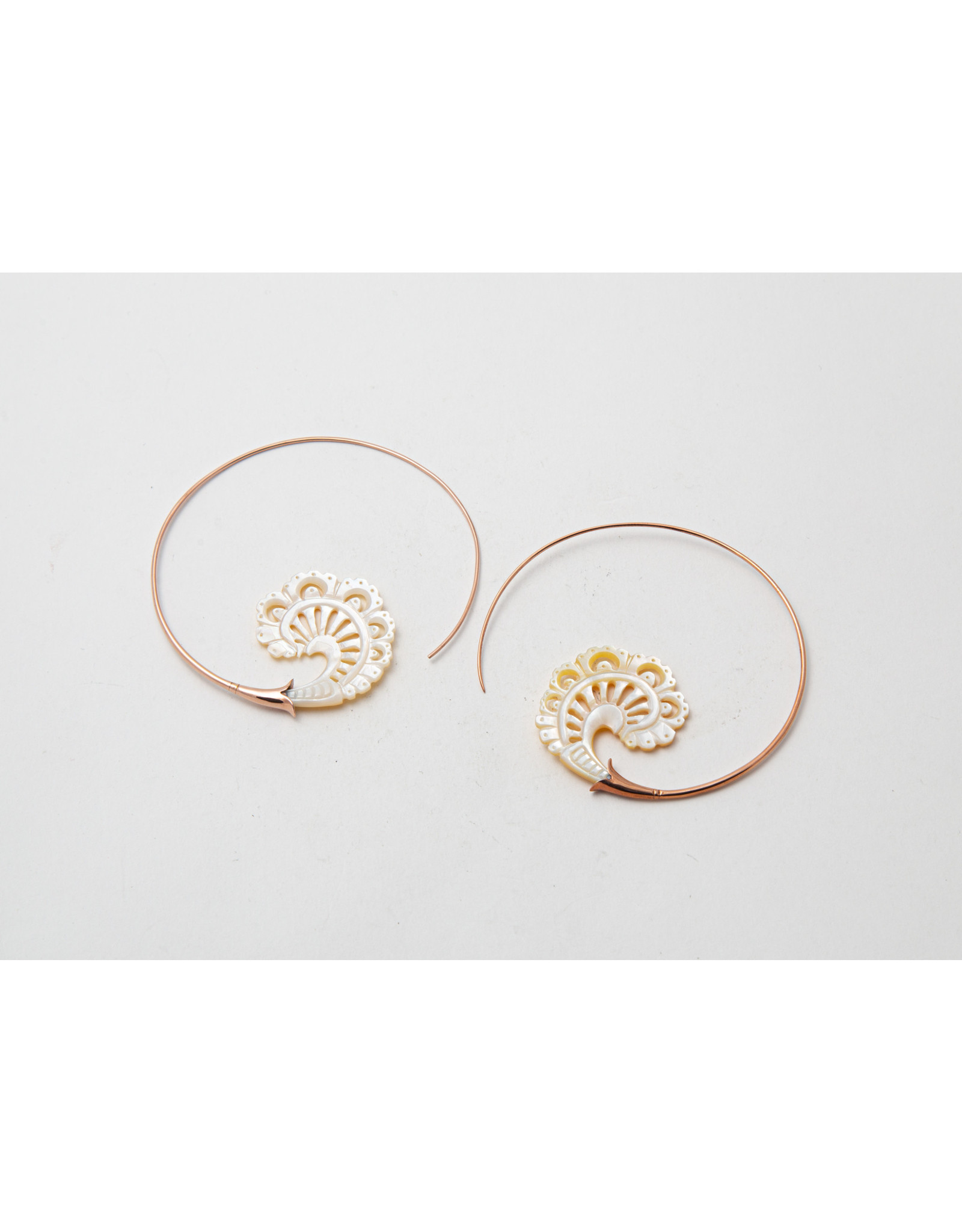 "Maya Jewelry Maya rose gold plate & bone ""Paisley"" traditional earring"