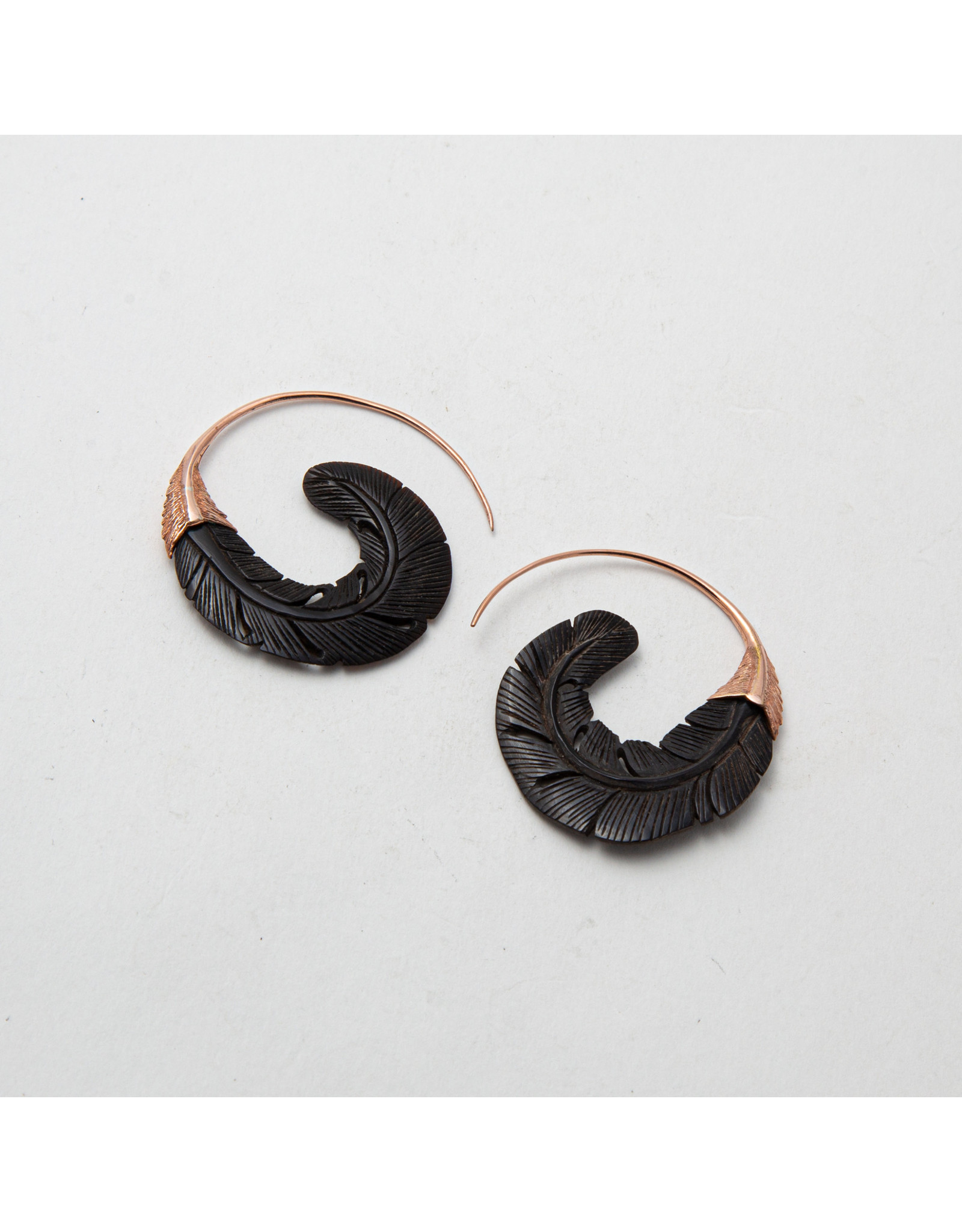 "Maya Jewelry Maya rose gold plate & horn ""Sage"" traditional earring"