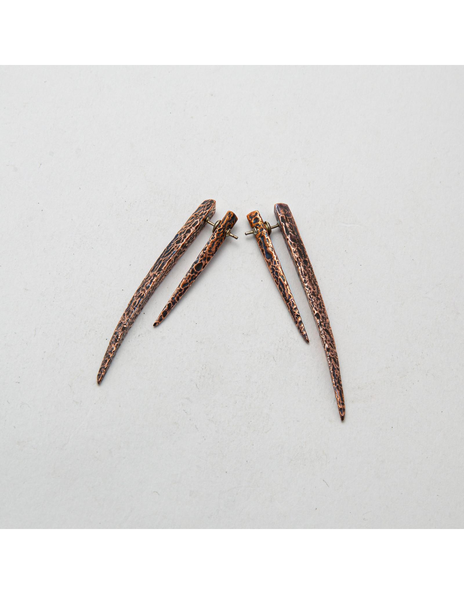 "Maya Jewelry Maya copper ""De Claw"" traditional earring"