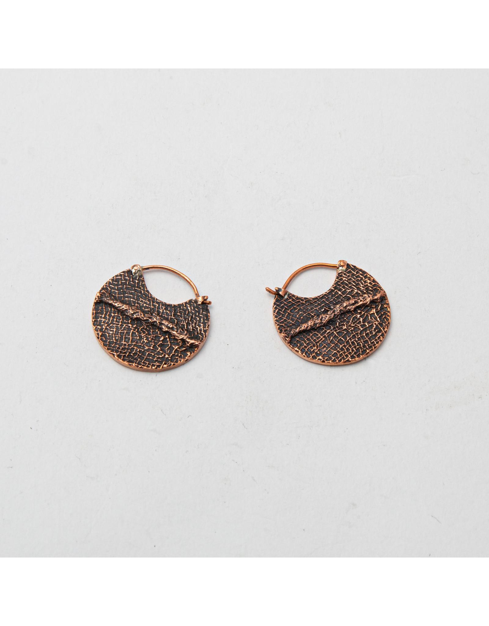 """Maya Jewelry Maya copper """"Stitch"""" traditional earring"""