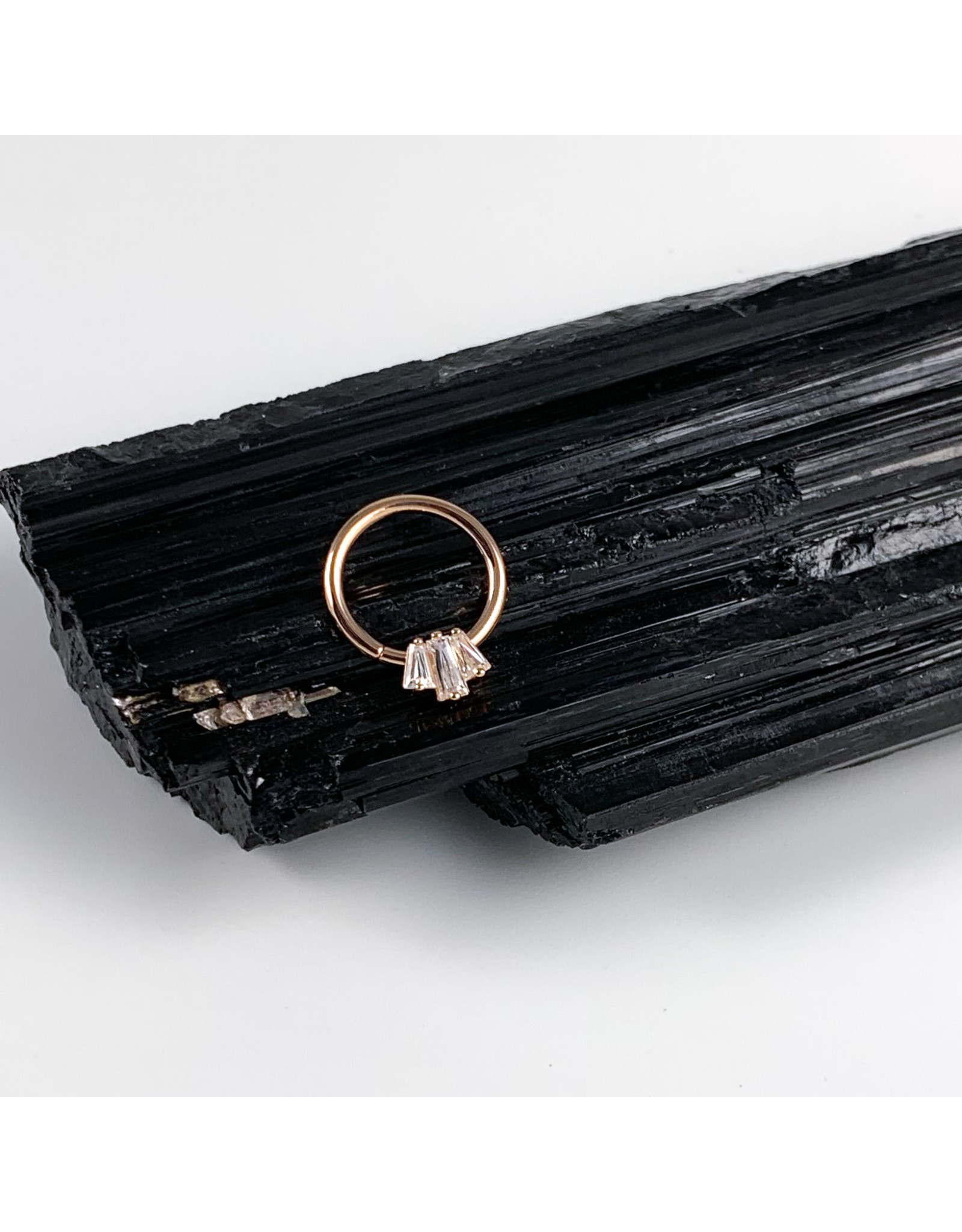 """BVLA BVLA 16g 3/8  """"Oceane"""" Tapered Baguette seam ring with CZ"""