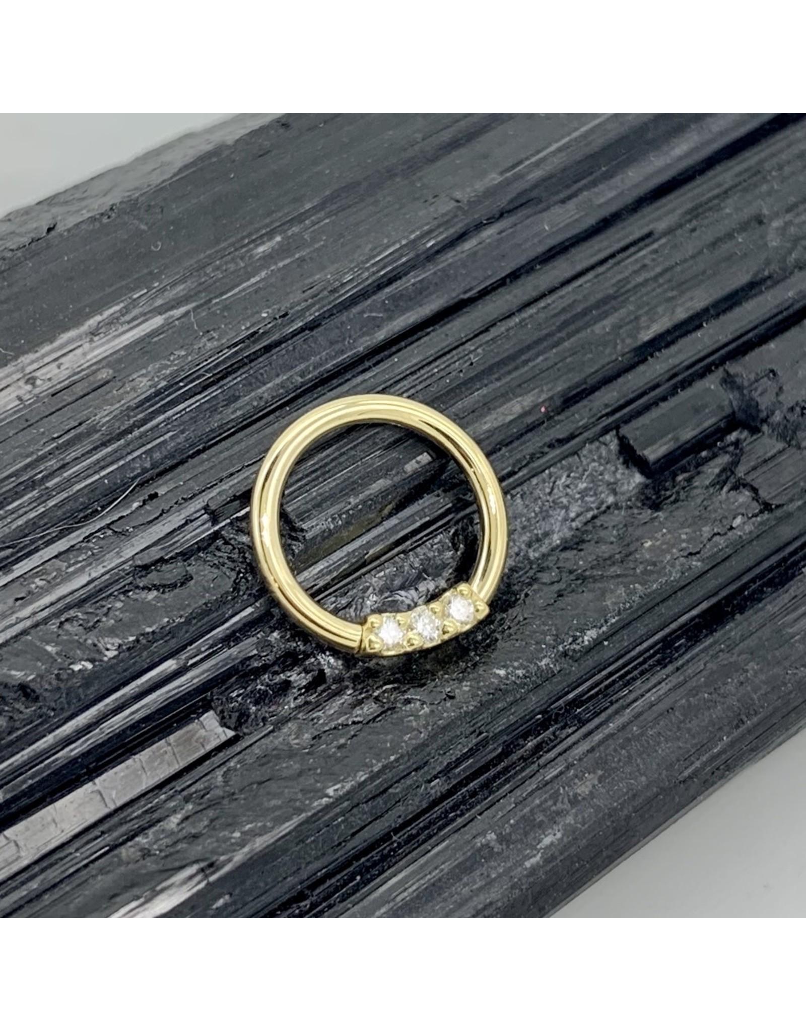 "BVLA BVLA 16g 11/32 ""Blaze"" seam ring with 3x 1.5 VS1 diamonds"