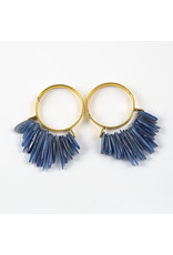 "Buddha Jewelry Organics Buddha Jewelry Organics brass ""Aurora"" hoops with blue kyanite"