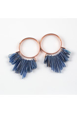 """Buddha Jewelry Organics Buddha Jewelry Organics rose gold plate """"Aurora"""" hoops with blue kyanite"""