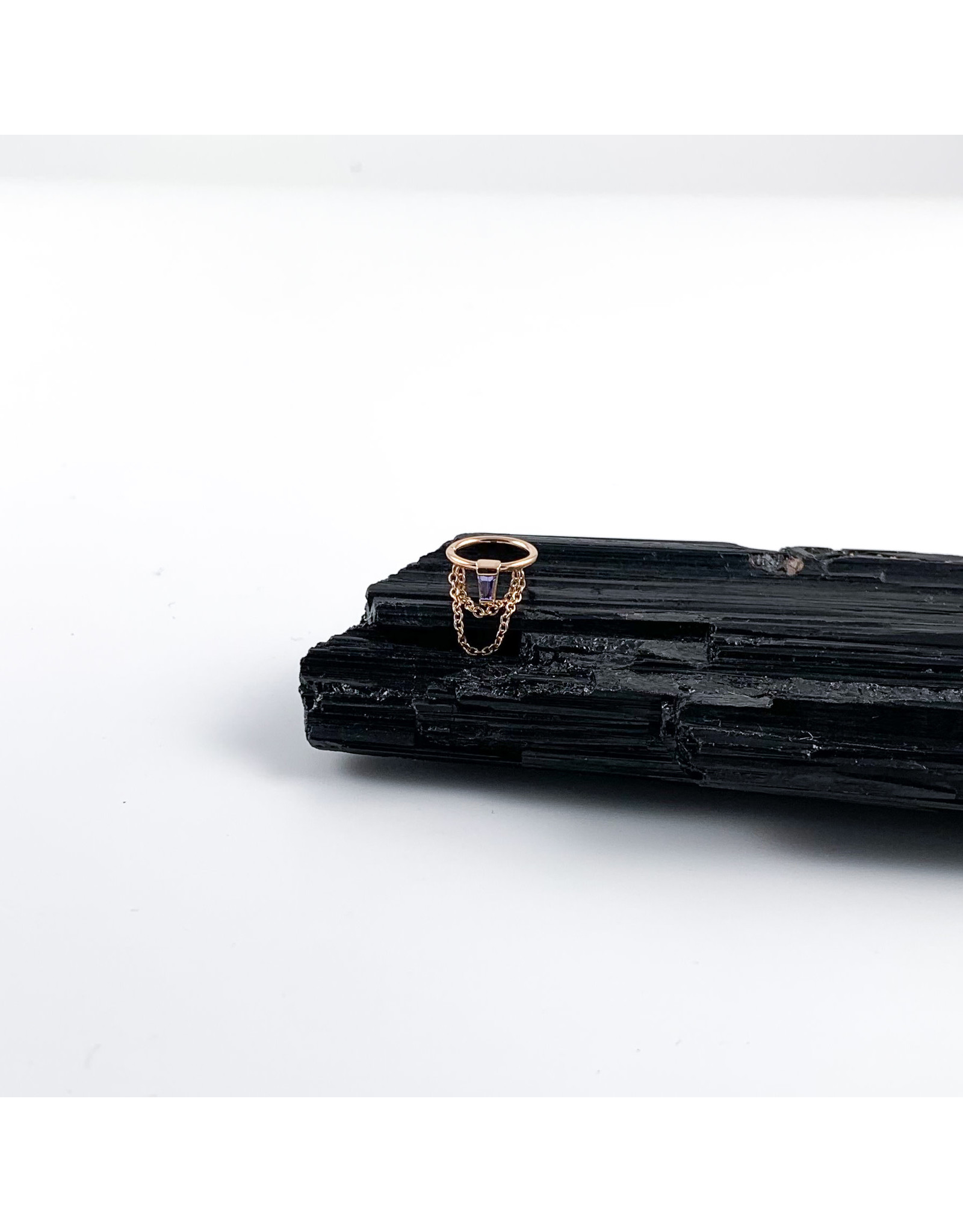 """BVLA BVLA 16g 5/16 rose gold """"Sunday"""" seam ring with 4x2x1.5 tapered Tanzanite baguette and 2x 1.0 cable chains"""