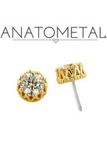 "Anatometal gold ""King"" press-fit end with crown-set gemstone"