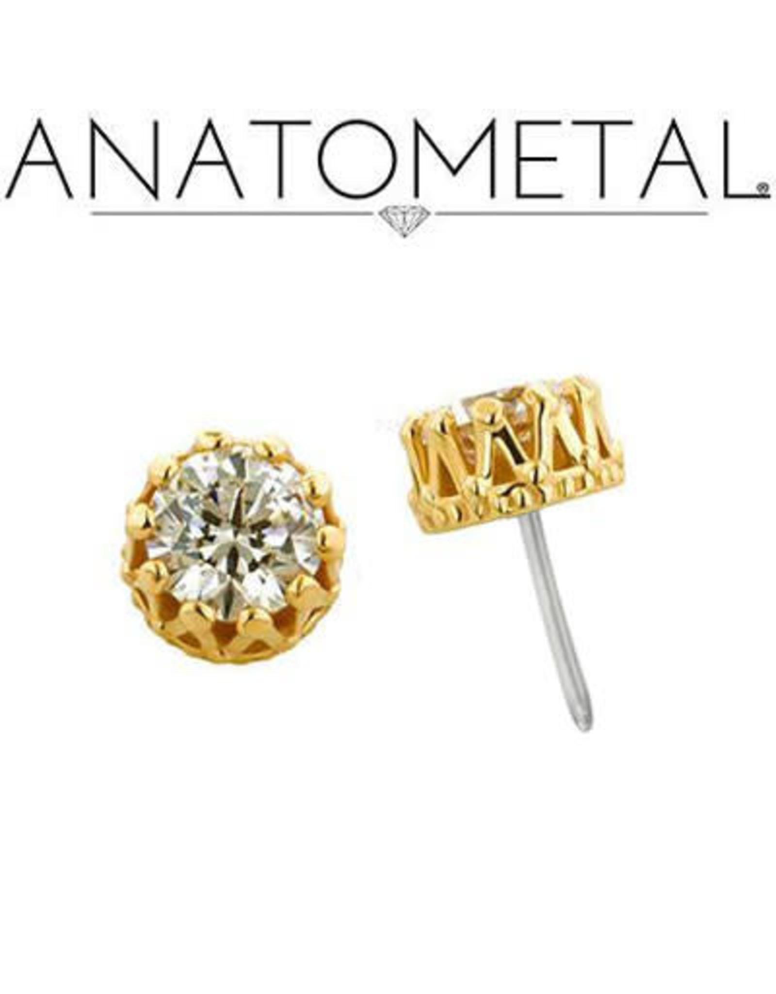 "Anatometal Anatometal gold ""King"" press-fit end with crown-set 4.0 gemstone"