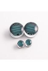 Gorilla Glass Gorilla Glass Black & Aqua Tiger Stripe double flared plugs