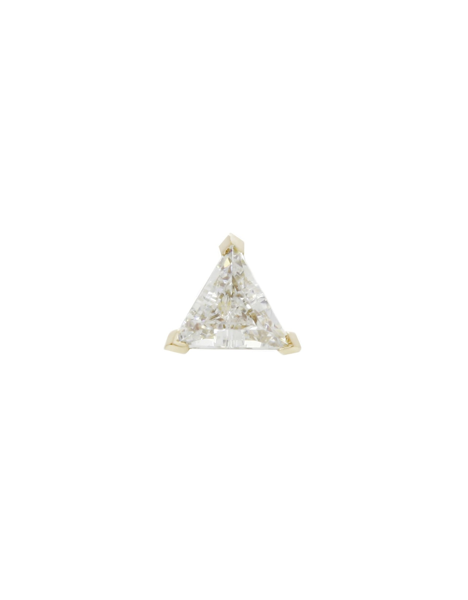 Buddha Jewelry Organics Buddha Jewelry Organic gold prong set trillion CZ press fit end.