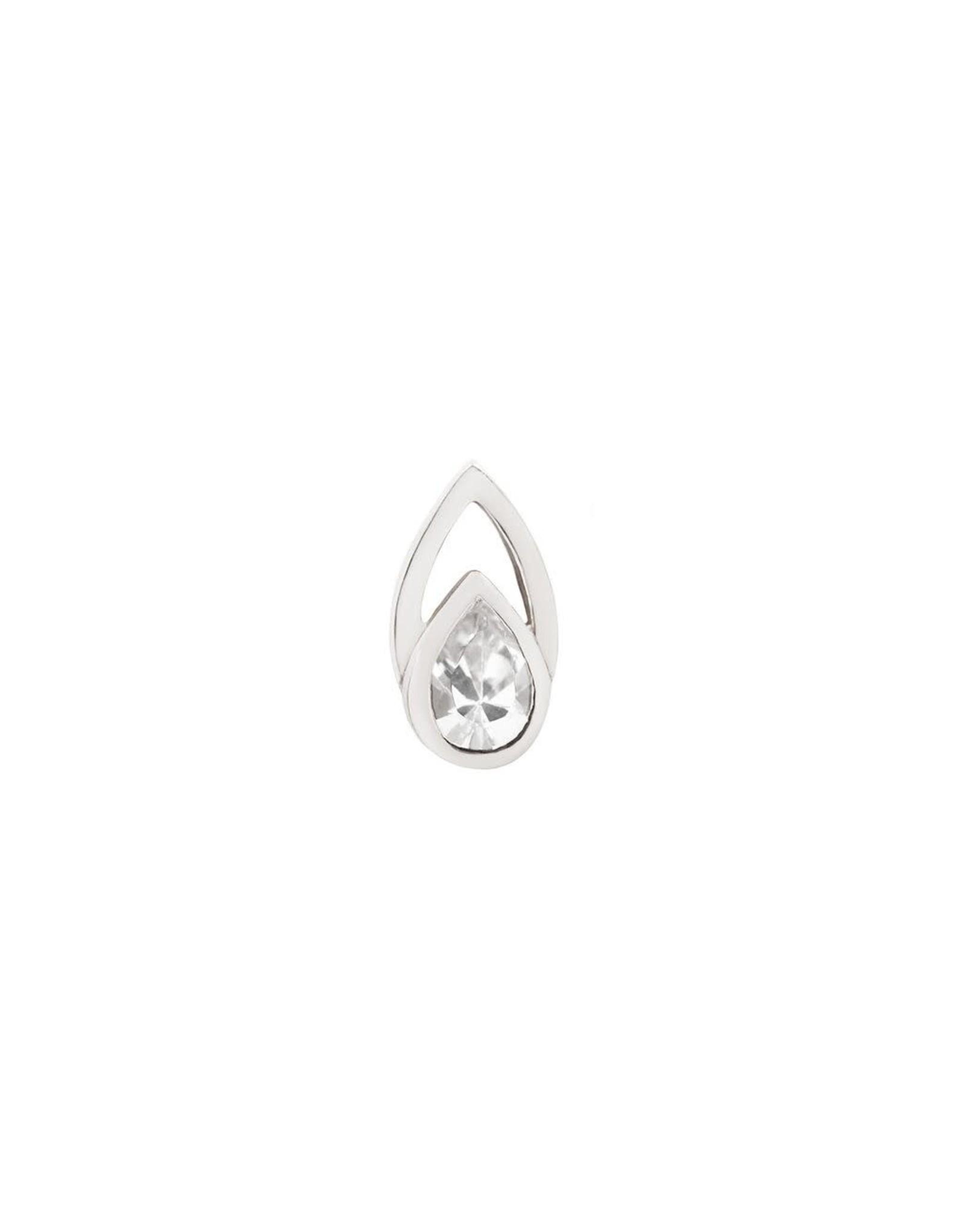 "Buddha Jewelry Organics Buddha Jewelry Organics ""Echo"" press fit end with pear-cut CZ"