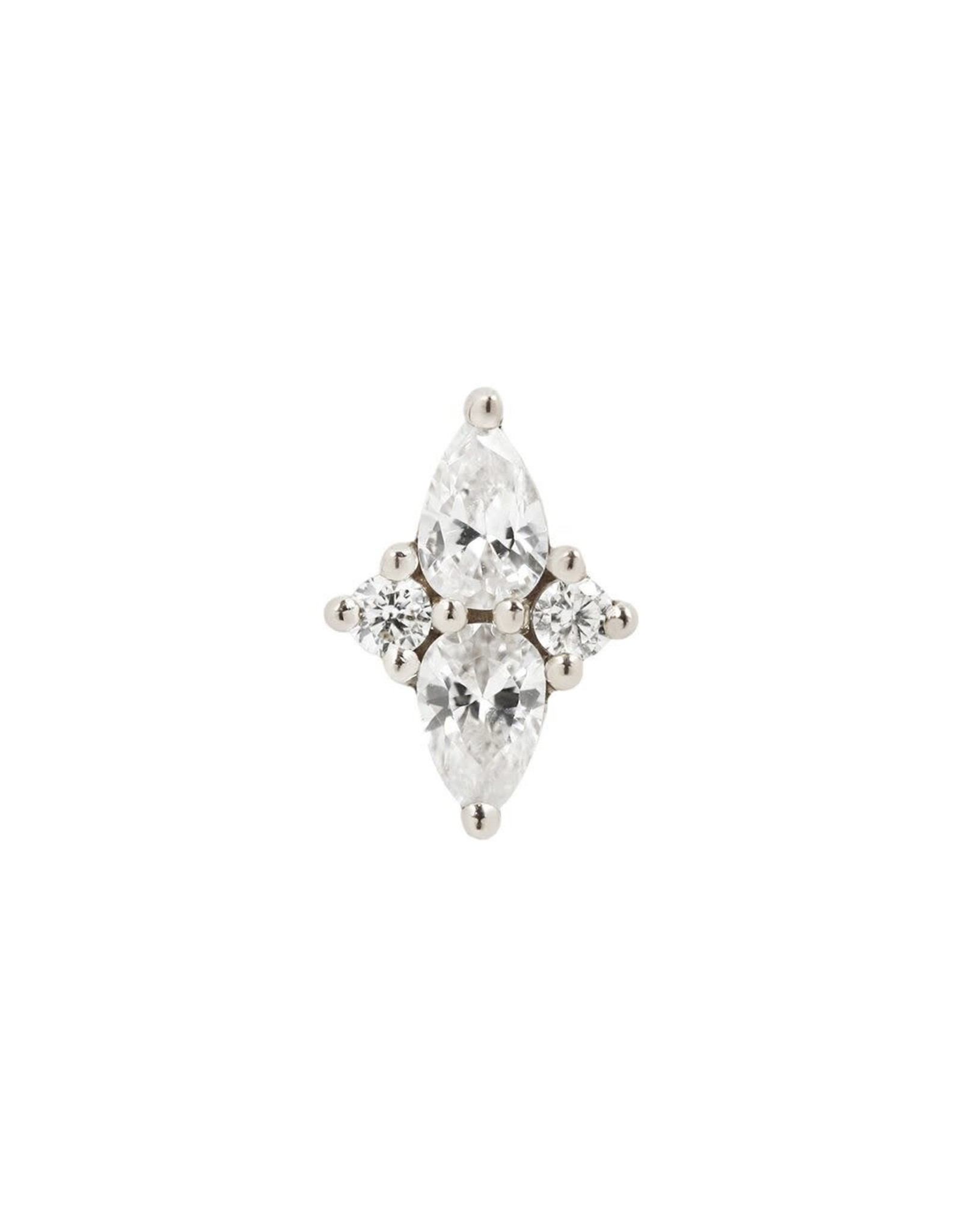 """Buddha Jewelry Organics Buddha Jewelry Organics gold """"Ethereal"""" press fit end with pear and brilliant CZ"""