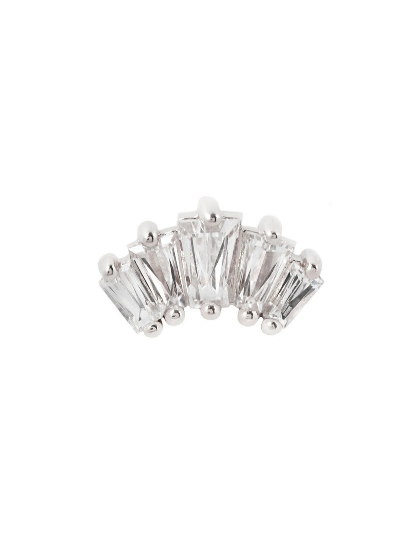 "Buddha Jewelry Organics Buddha Jewelry Organic gold ""Gemma Cinq"" press fit end with tapered baguette-cut CZs"