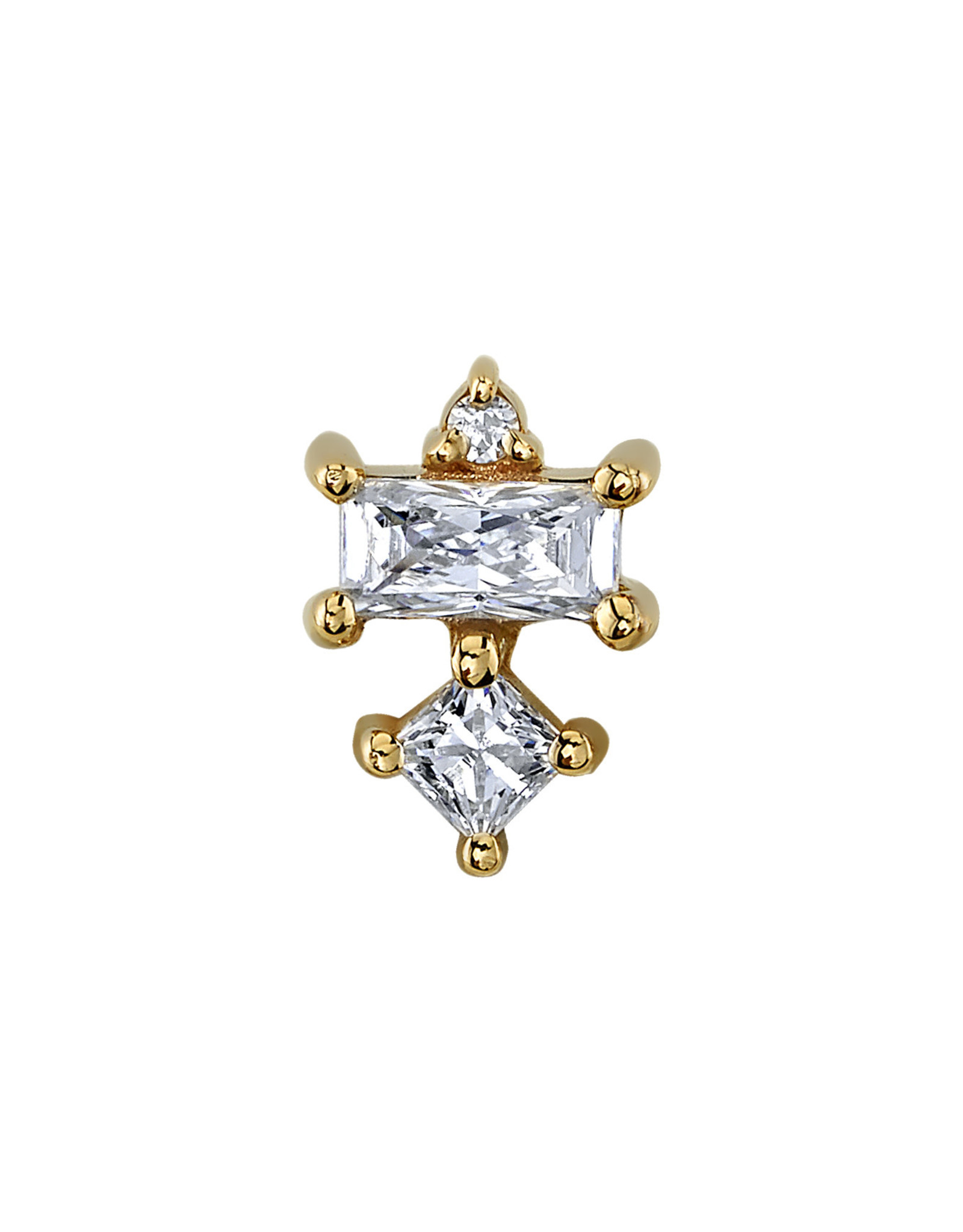 "BVLA BVLA Yellow Gold ""Tetra"" threaded end with 1.0 CZ, 4x2 CZ baguette, and 2.0 princess CZ"