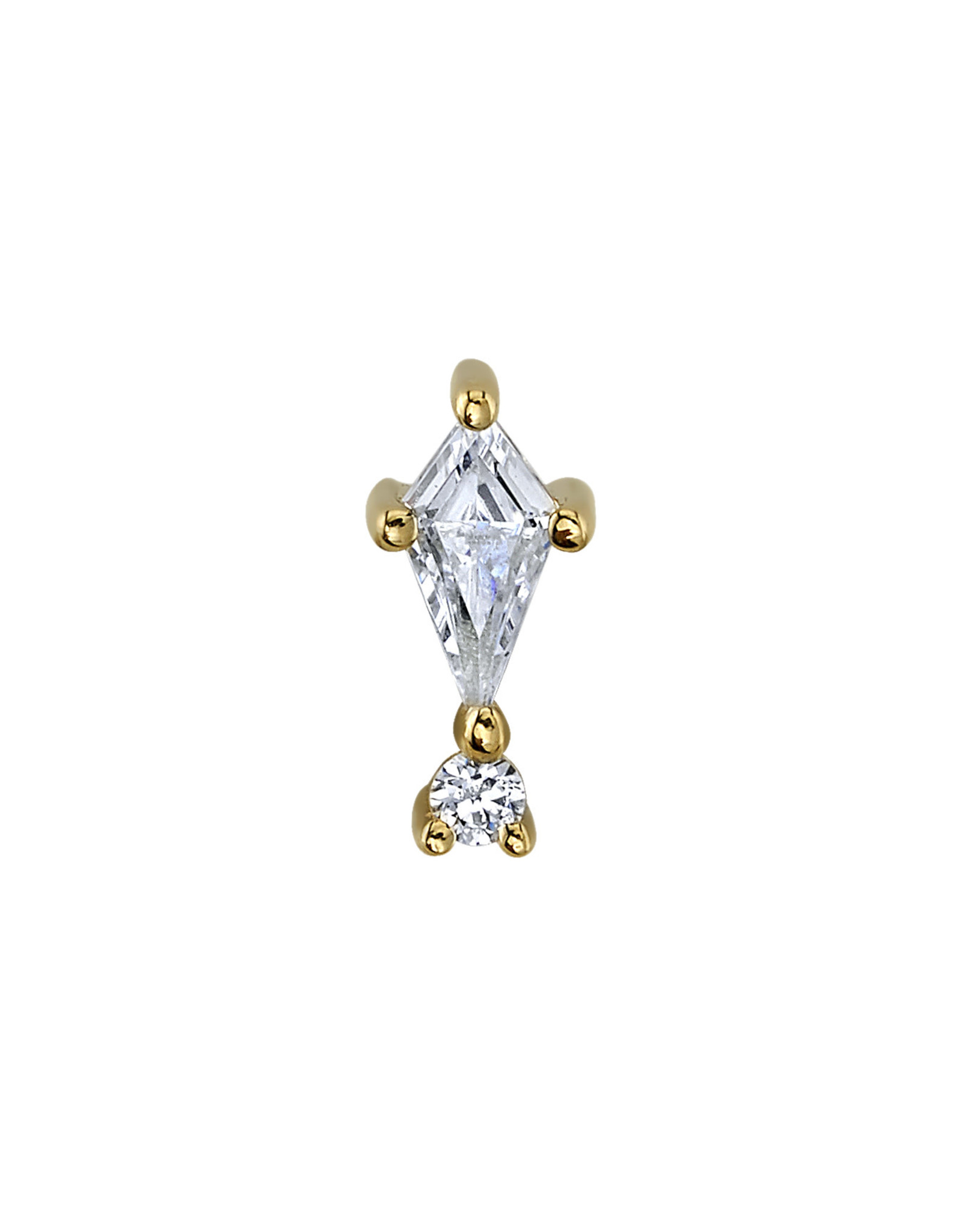 """BVLA BVLA yellow gold """"Kiss and Tell"""" threaded end with 4x2 CZ kite & 1.25 CZ"""