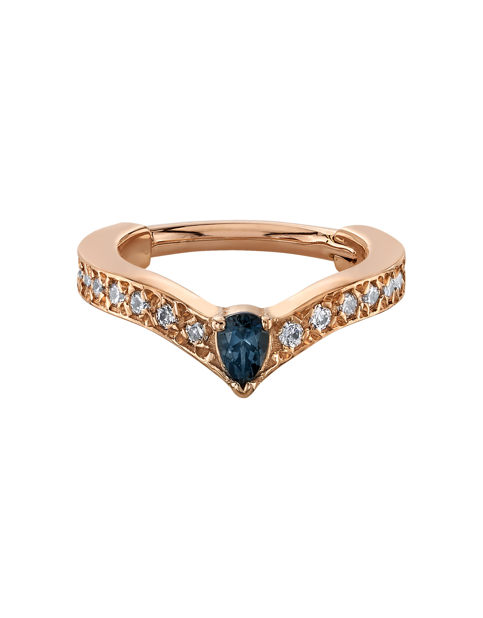 "BVLA BVLA 16g 3/8 rose gold  ""Cherish Pear"" clicker with 3x2 AA London Blue Topaz pear and 18x 1.0 CZ"