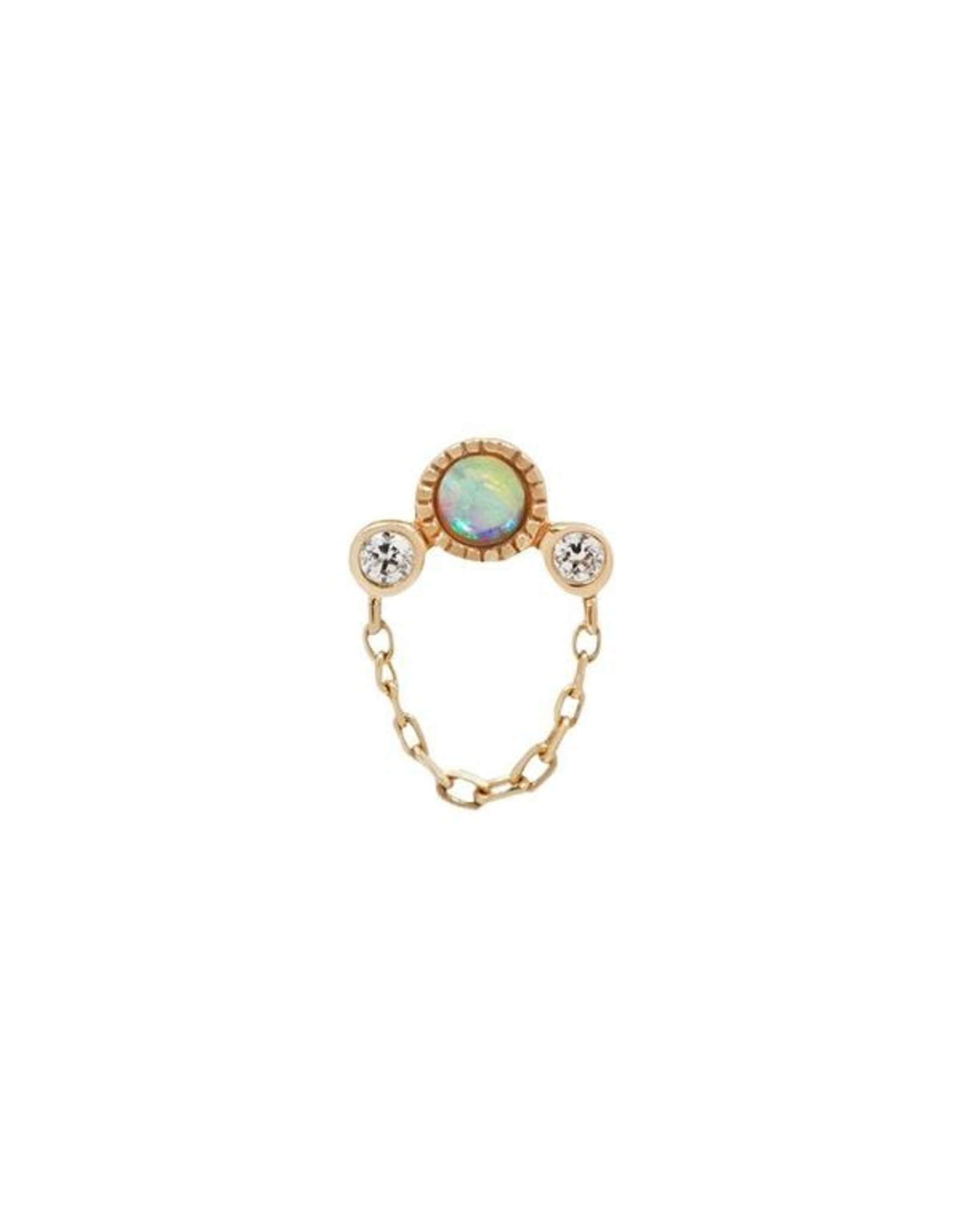 """Buddha Jewelry Organics Buddha Jewelry Organics """"Halston"""" press-fit end with genuine opal, chain and CZ"""