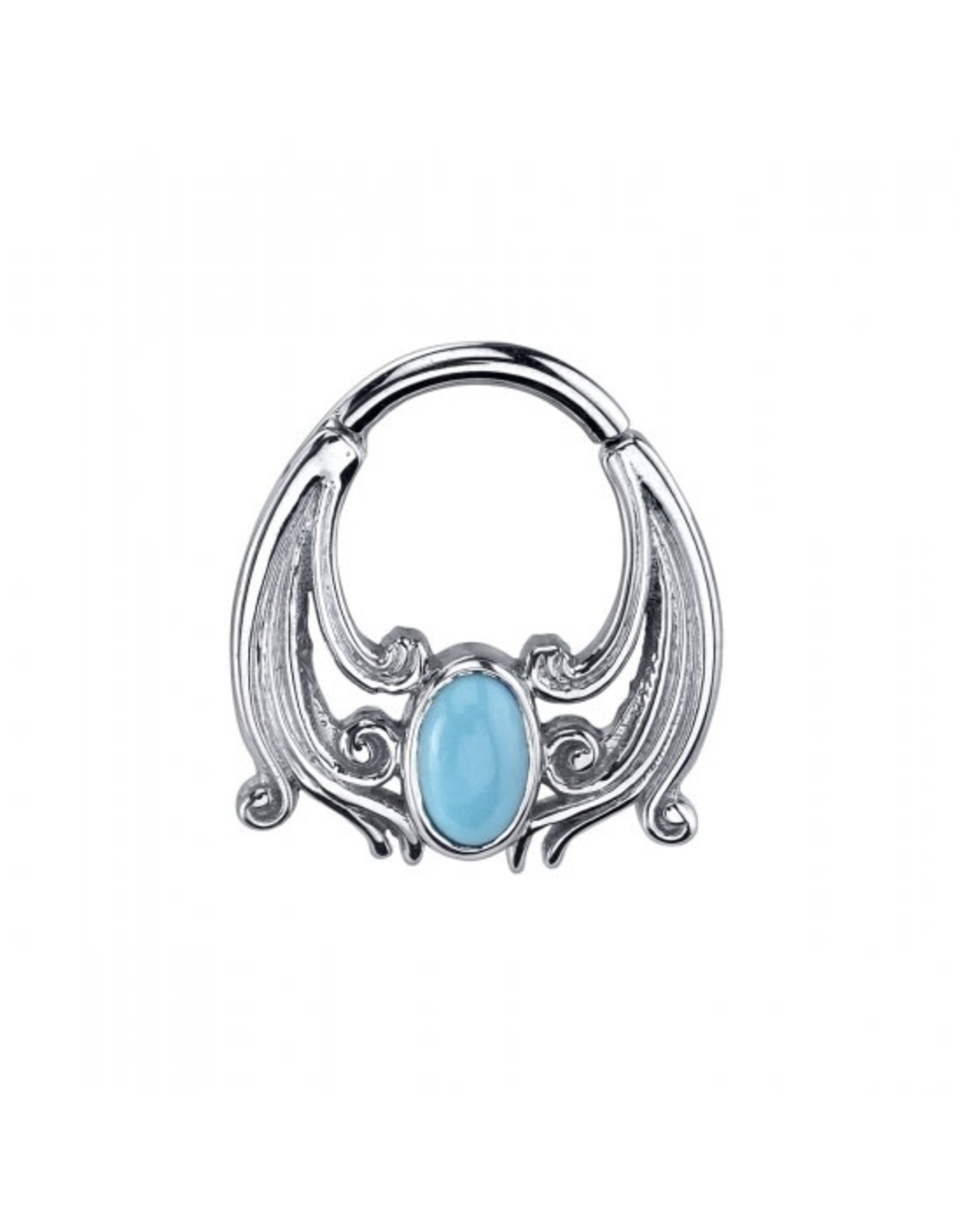 """BVLA BVLA 16g 5/16 white gold """"Skye"""" clicker with turquoise oval"""