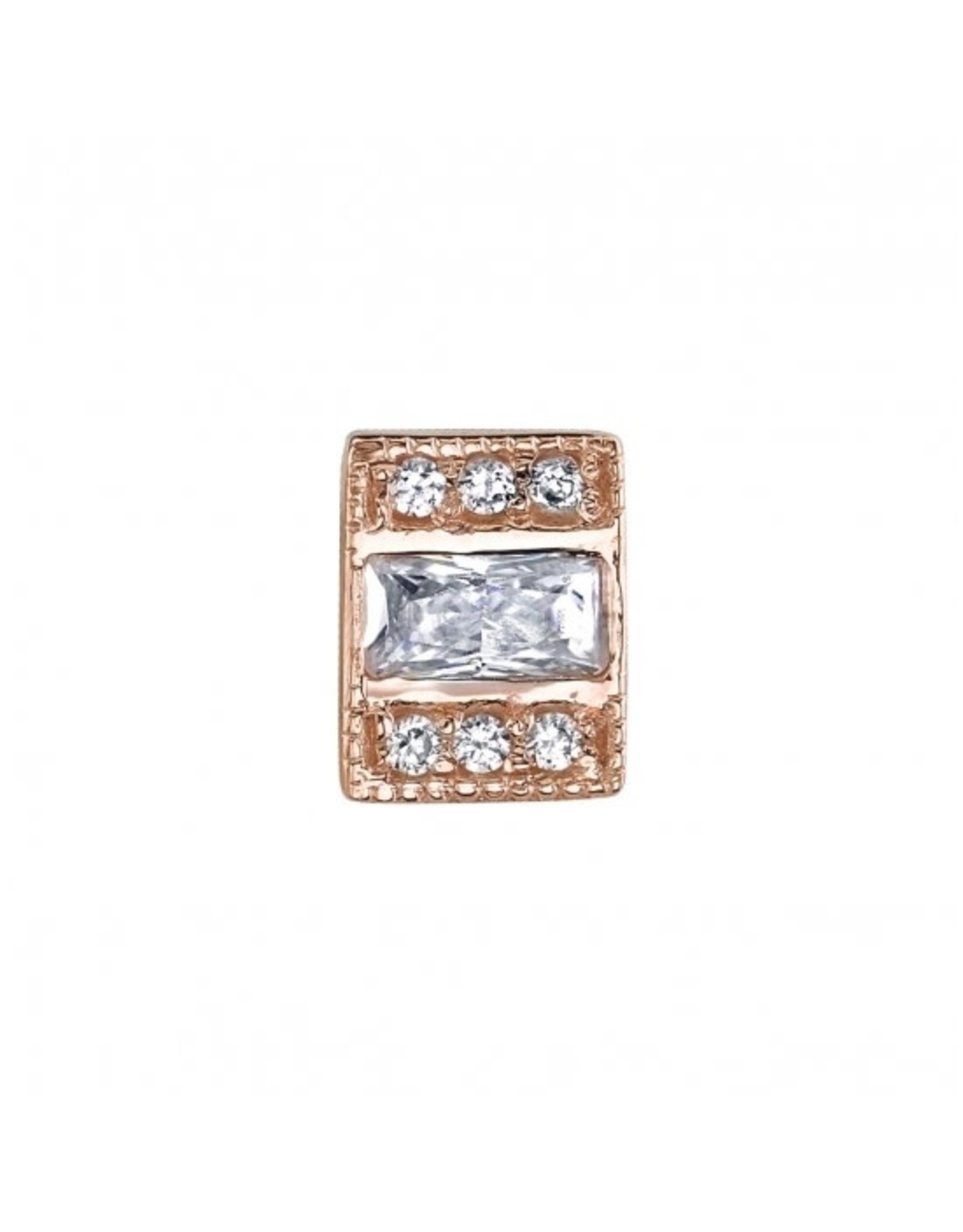 """BVLA BVLA rose gold """"Endymion Rectangle"""" threaded end with 6x 1.0 CZ & 4x2 baguette CZ"""