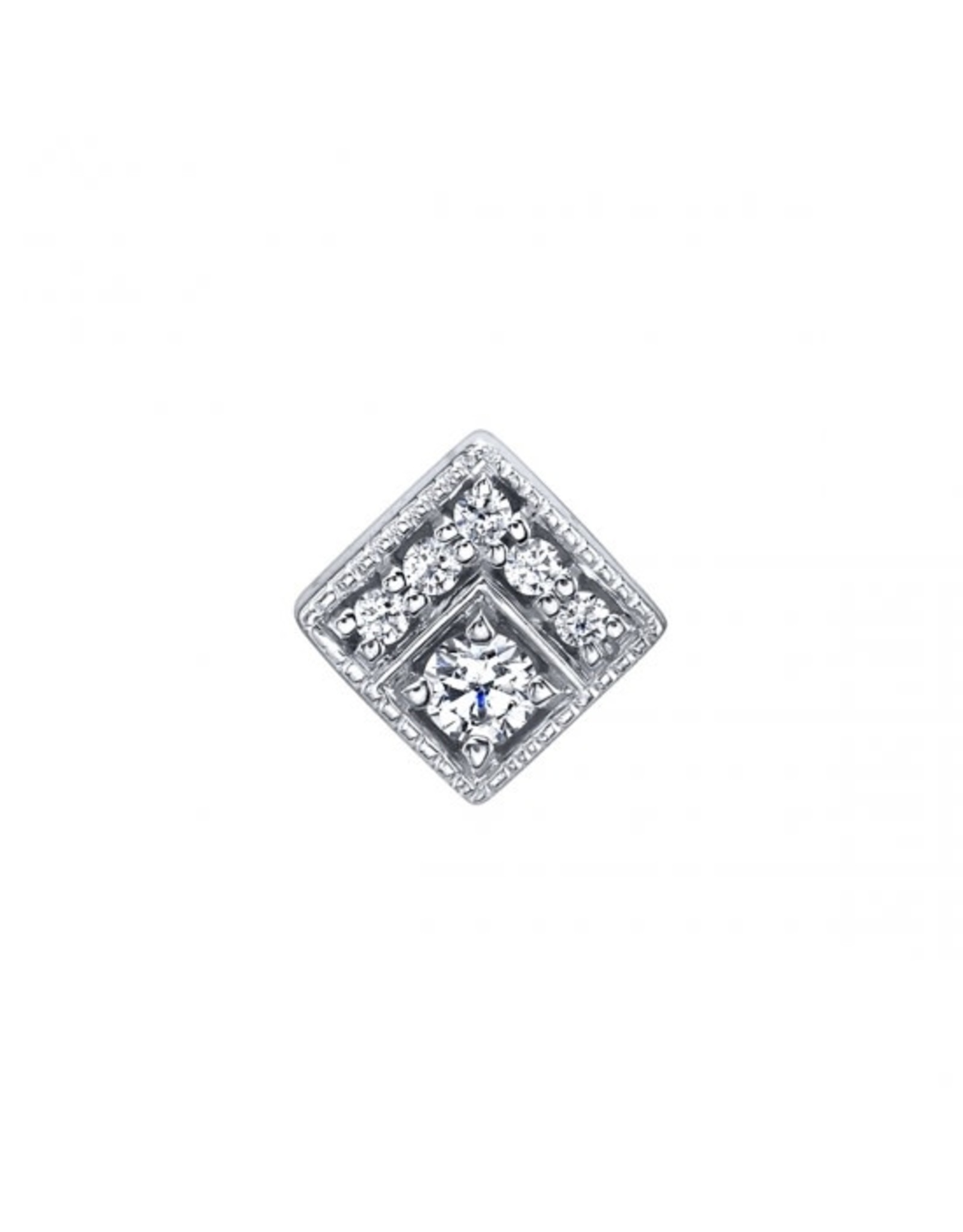 """BVLA BVLA white gold """"Endymion Square"""" threaded end with 5x 1.0 CZ & 2.0 CZ"""