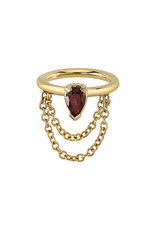 """BVLA BVLA 18g 5/16 """"Call Me!"""" seam ring with 4x2.45 AA garnet pear and cable chain"""