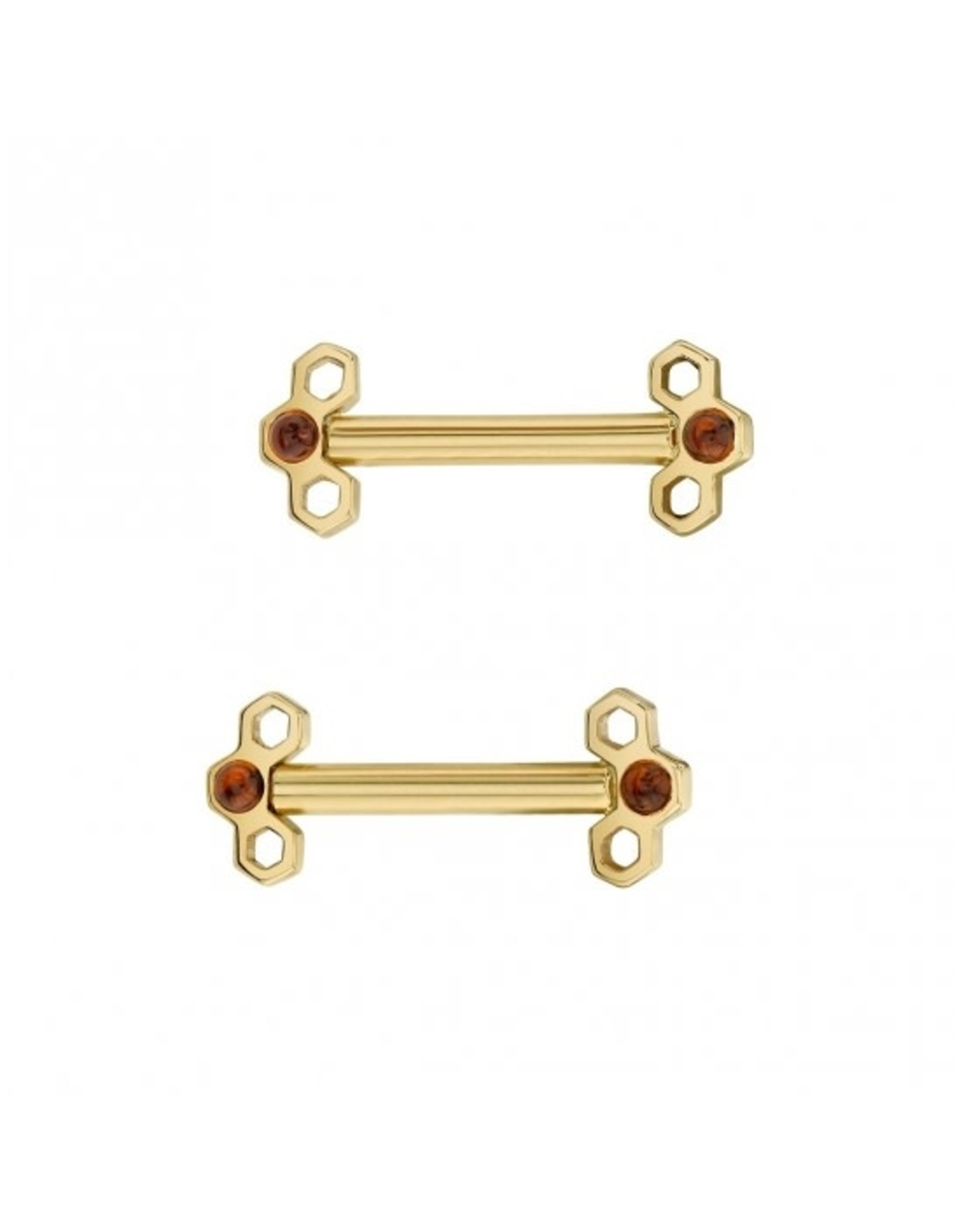 BVLA BVLA 12g 1/2  yellow gold Honeycomb barbell with AA citrine cabochon