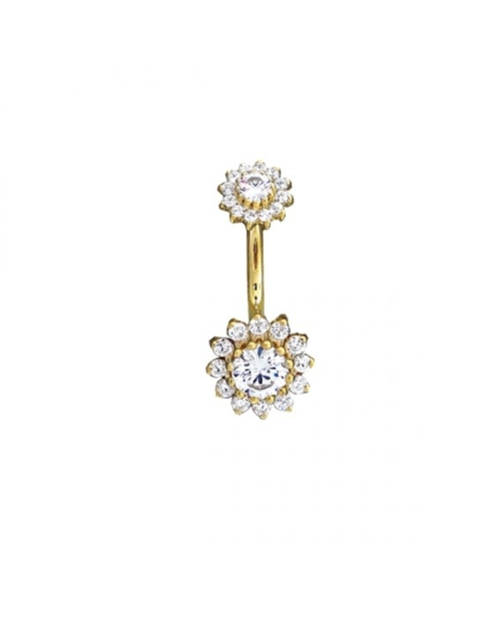 """BVLA BVLA 14g 7/16 yellow gold """"The Rose"""" navel curve with CZ"""