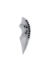 BVLA BVLA white gold bat wing threaded end with 13x 1.0 Black CZ