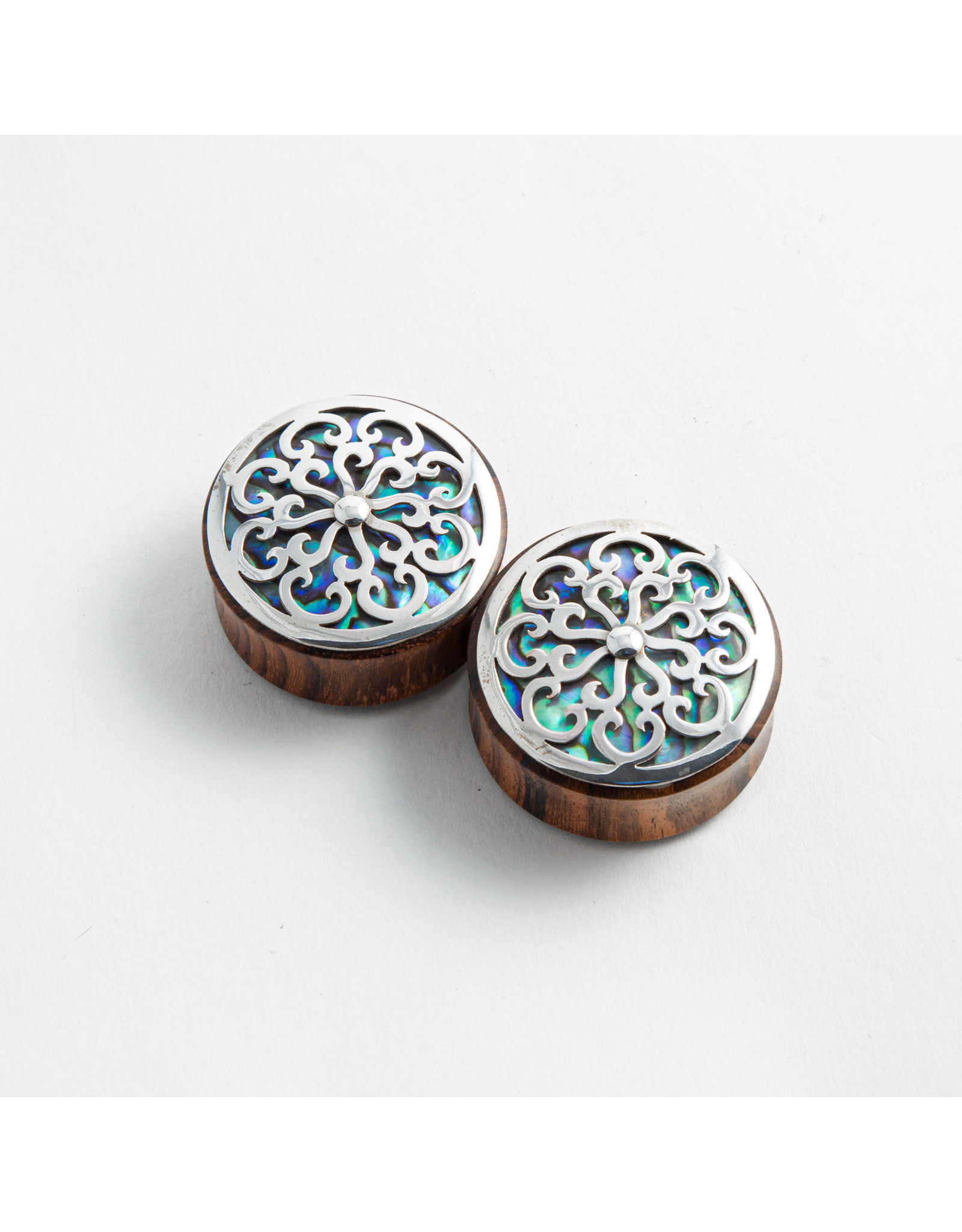 """Buddha Jewelry Organics Buddha Jewelry Organics """"Idol"""" arang wood double flared plug with silver and abalone inlay"""