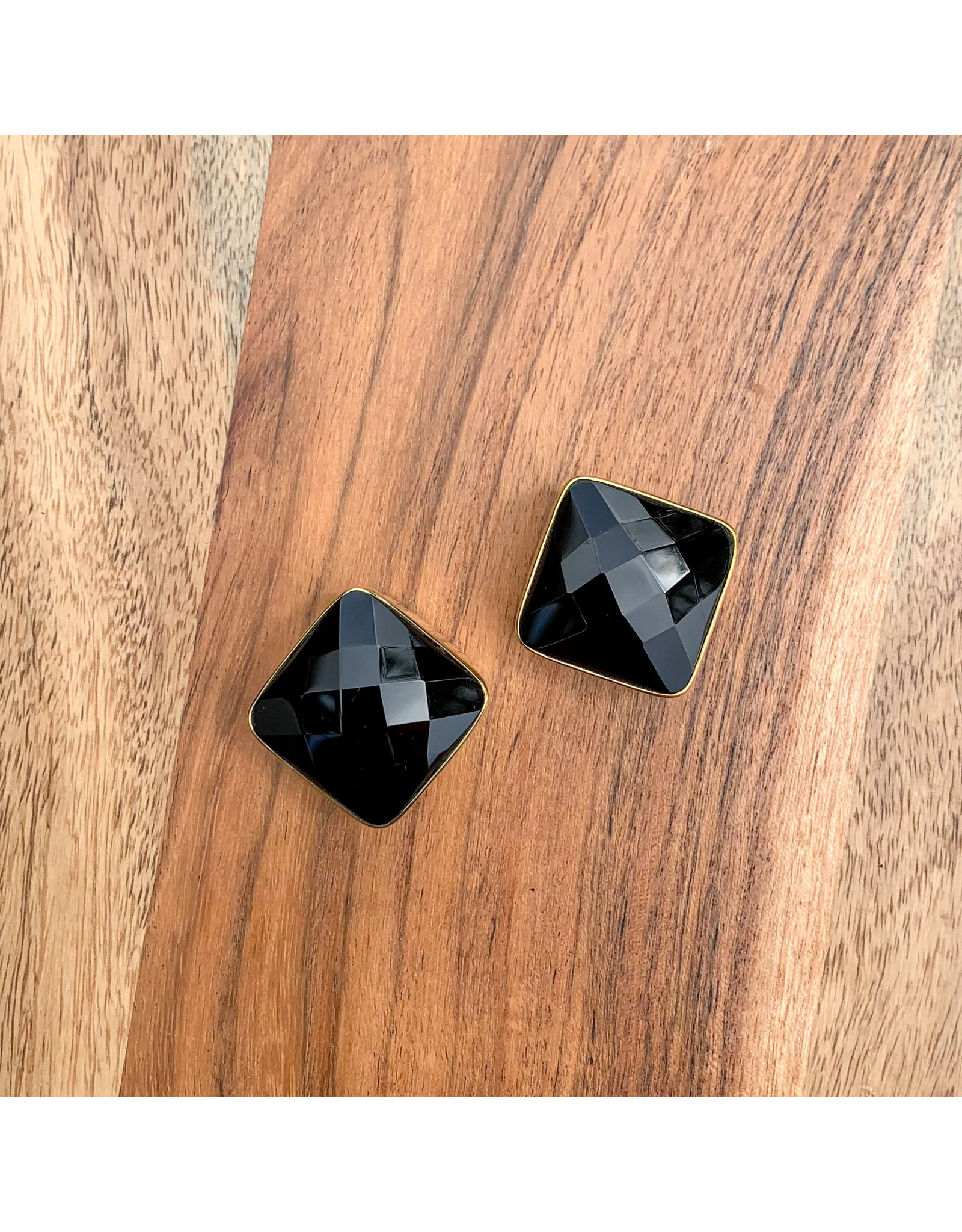 "Diablo Organics Diablo Organics brass ""Cubix"" weights with faceted black obsidian"