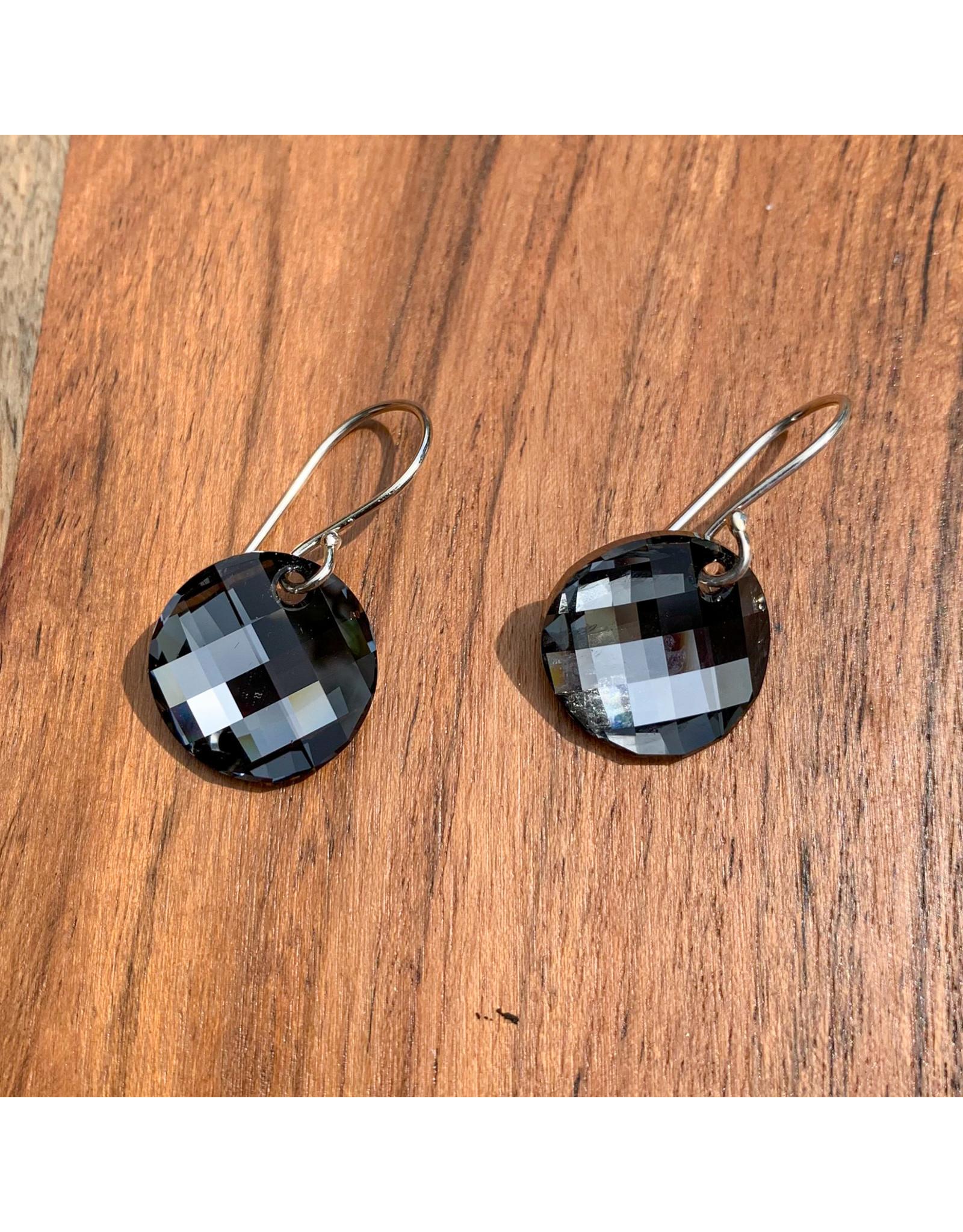 Diablo Organics Diablo Organics Black Diamond Twist Swarovski traditional earrings on silver coils