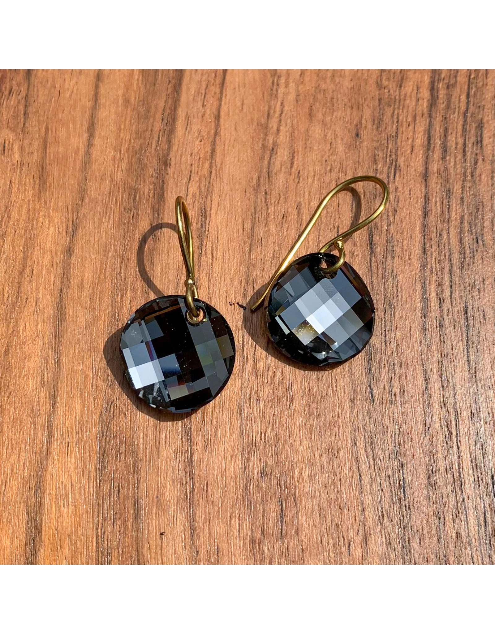 Diablo Organics Diablo Organics Black Diamond Twist Swarovski traditional earrings on brass coils