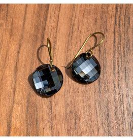 Diablo Organics Diablo Organics Brass & Black Diamond Twist Earrings