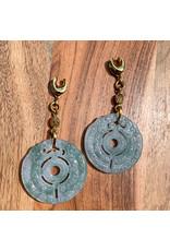 "Diablo Organics Diablo Organics ""Archaic Jade"" carved jade disk on 1/2 brass saddle spreader with rutilated quartz accent"