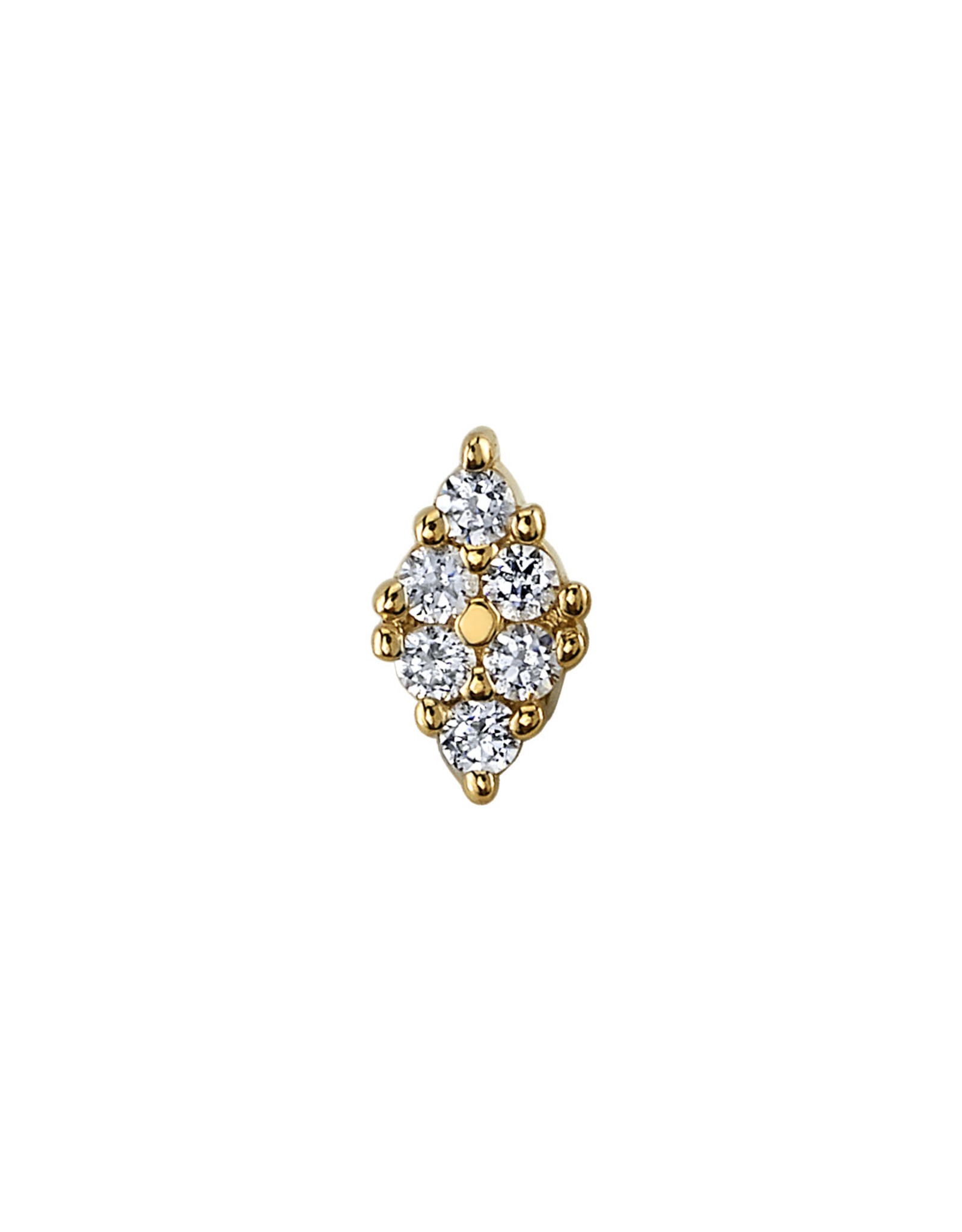 """BVLA BVLA yellow gold """"Oasis"""" press fit end with 6x 1.0 diamond"""