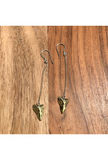 "Diablo Organics Diablo Organics brass ""Lone Shark"" traditional earring"