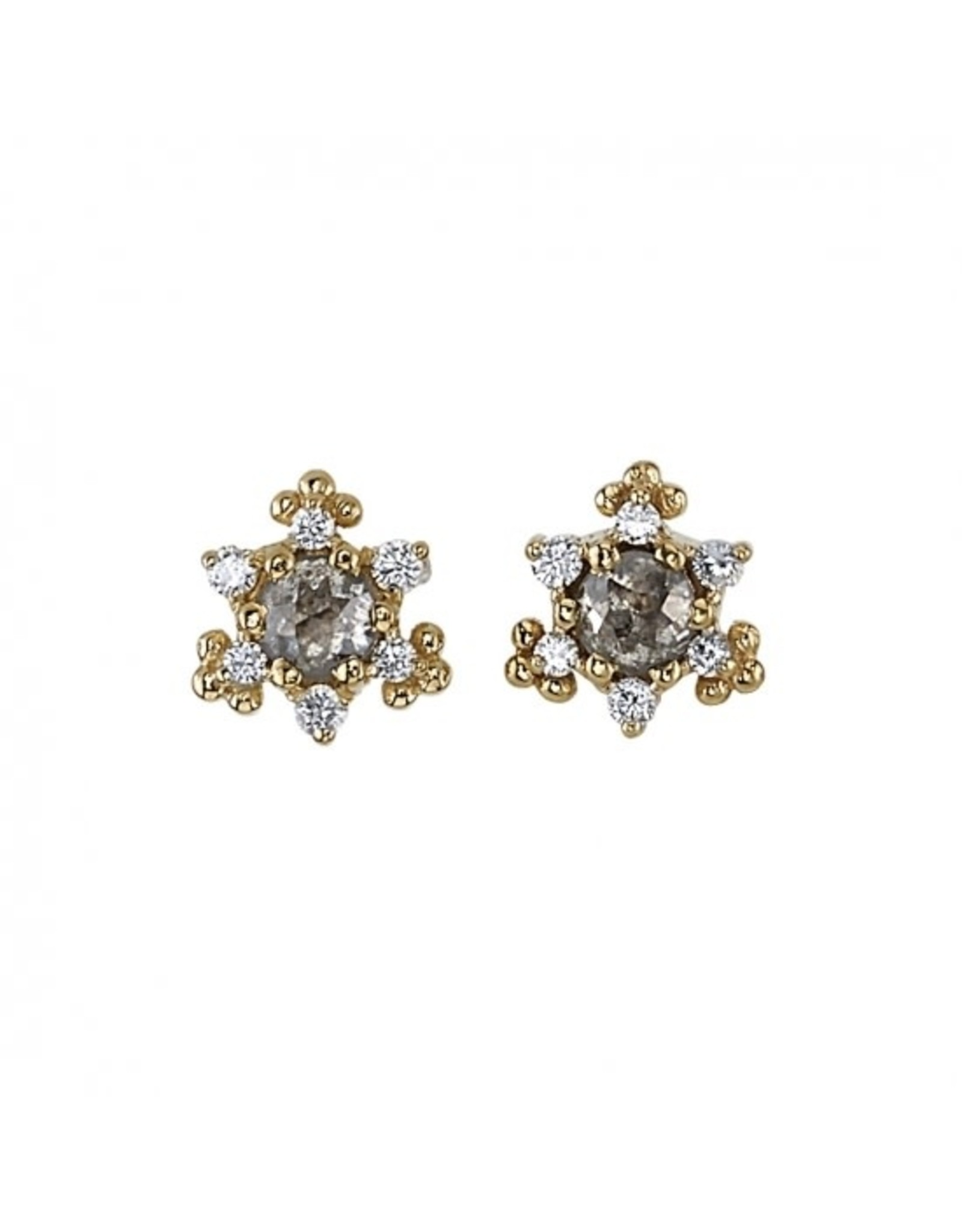"""BVLA BVLA yellow gold """"Bayle"""" threaded end with 1x 3.0 rose cut grey diamond, 3x 1.0 CZ and 3x 1.25 CZ"""