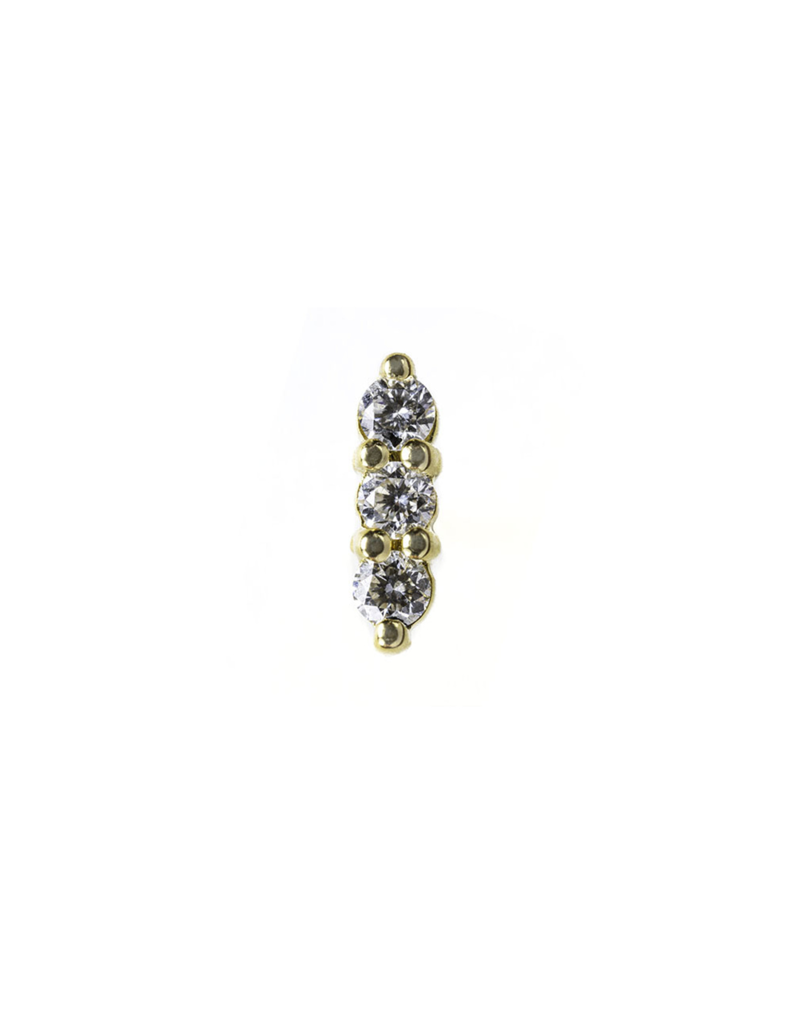 BVLA BVLA yellow gold linear tri prong cluster press fit end with 3x 1.5 VS 1 diamond