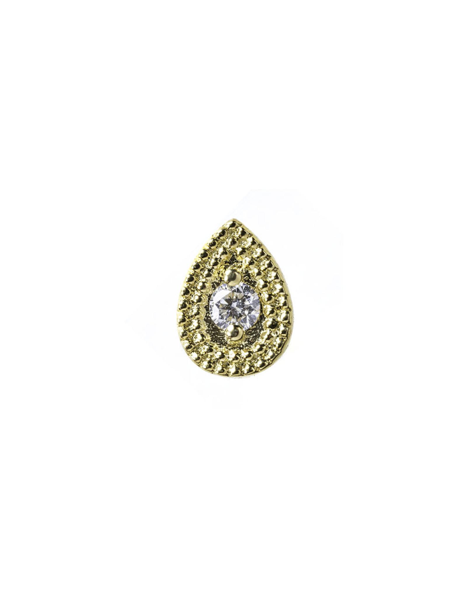 "BVLA BVLA 6x4 yellow gold ""Double Milgrain Pear Harlequin"" press fit end with 2.0 VS1 diamond"
