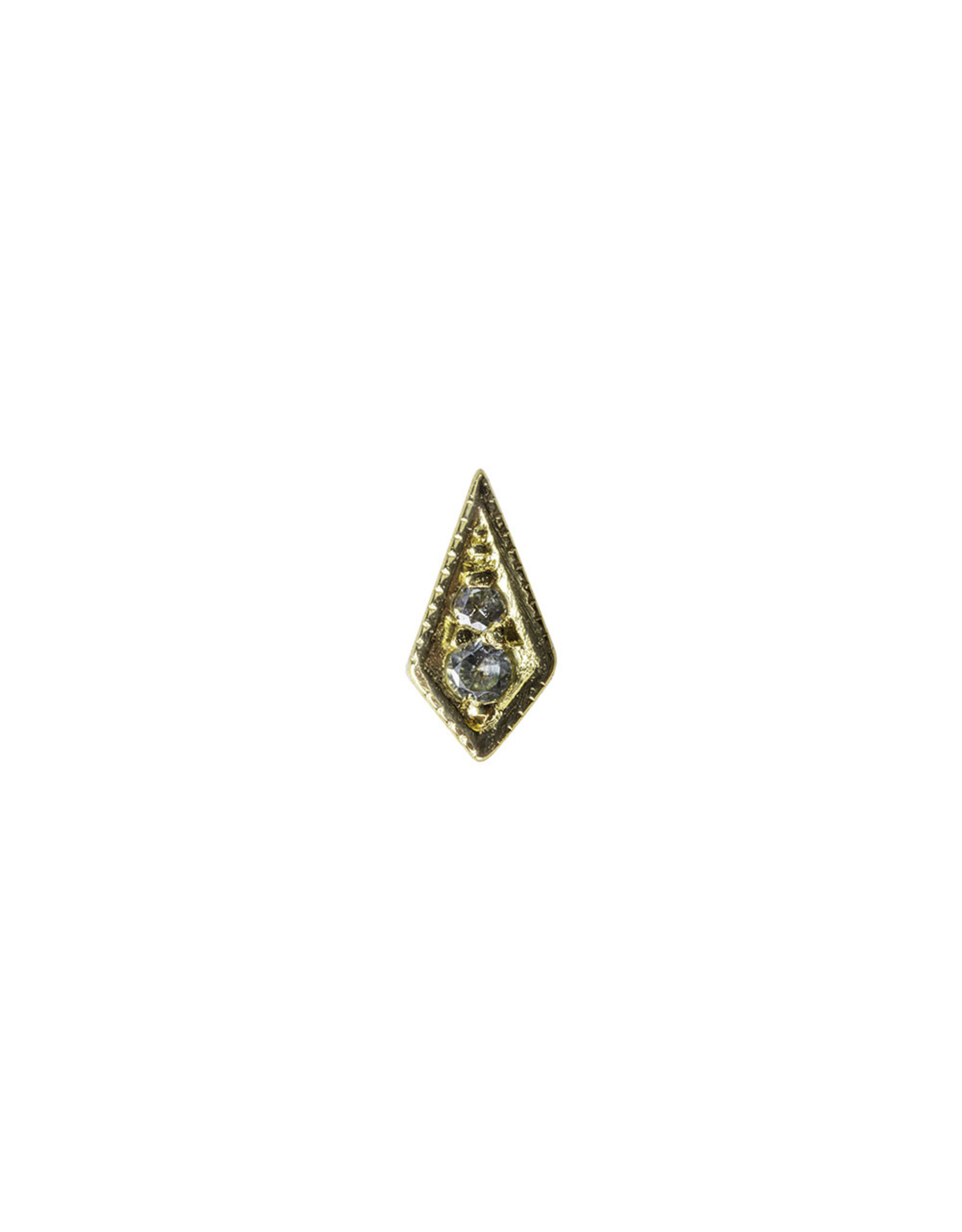 """BVLA BVLA yellow gold """"Dario"""" kite press fit end with 1.25 & 1.0 AA Grey Sapphire"""