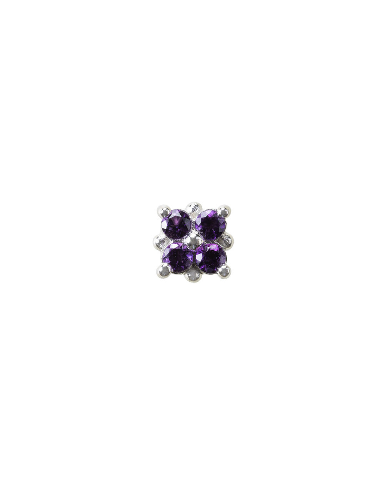 """BVLA BVLA white gold """"Reema"""" press fit end with 4x 1.25 amethyst"""