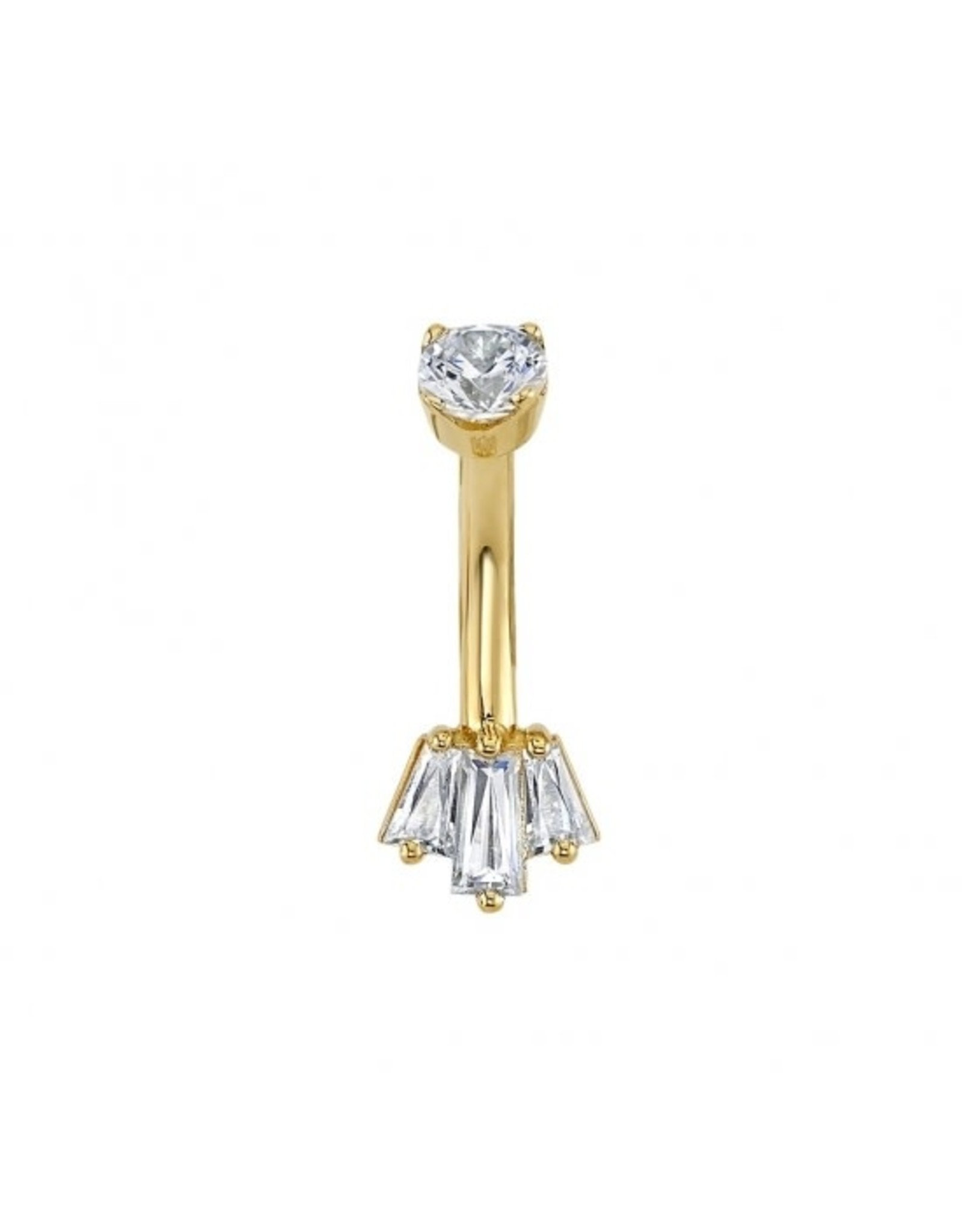 """BVLA BVLA """"Oceane 3"""" navel curve with tapered CZ baguettes"""