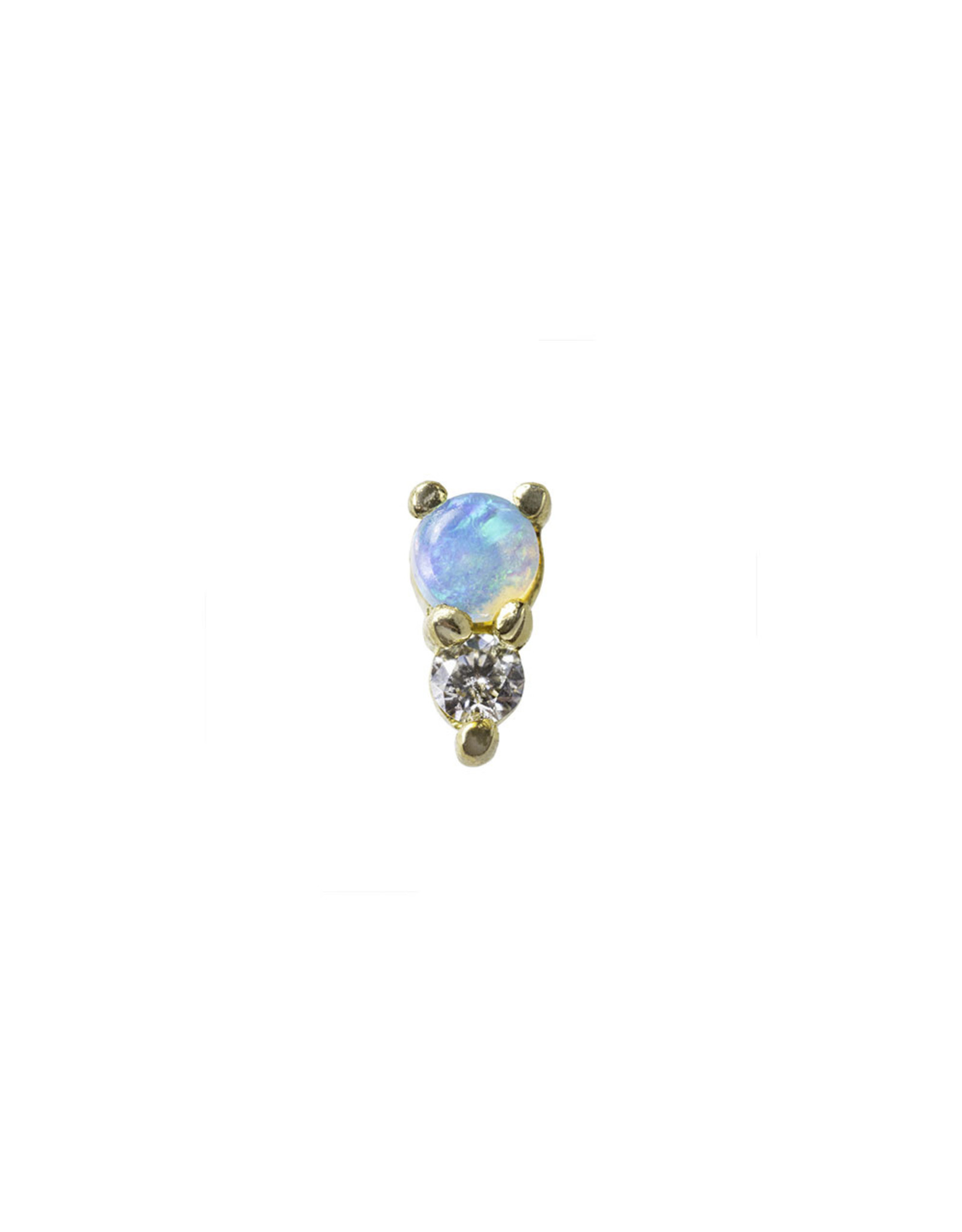 """BVLA BVLA yellow gold """"Jeanie 2"""" press fit end with 2.0 AAA white opal and 1.5 VS1 Diamond"""