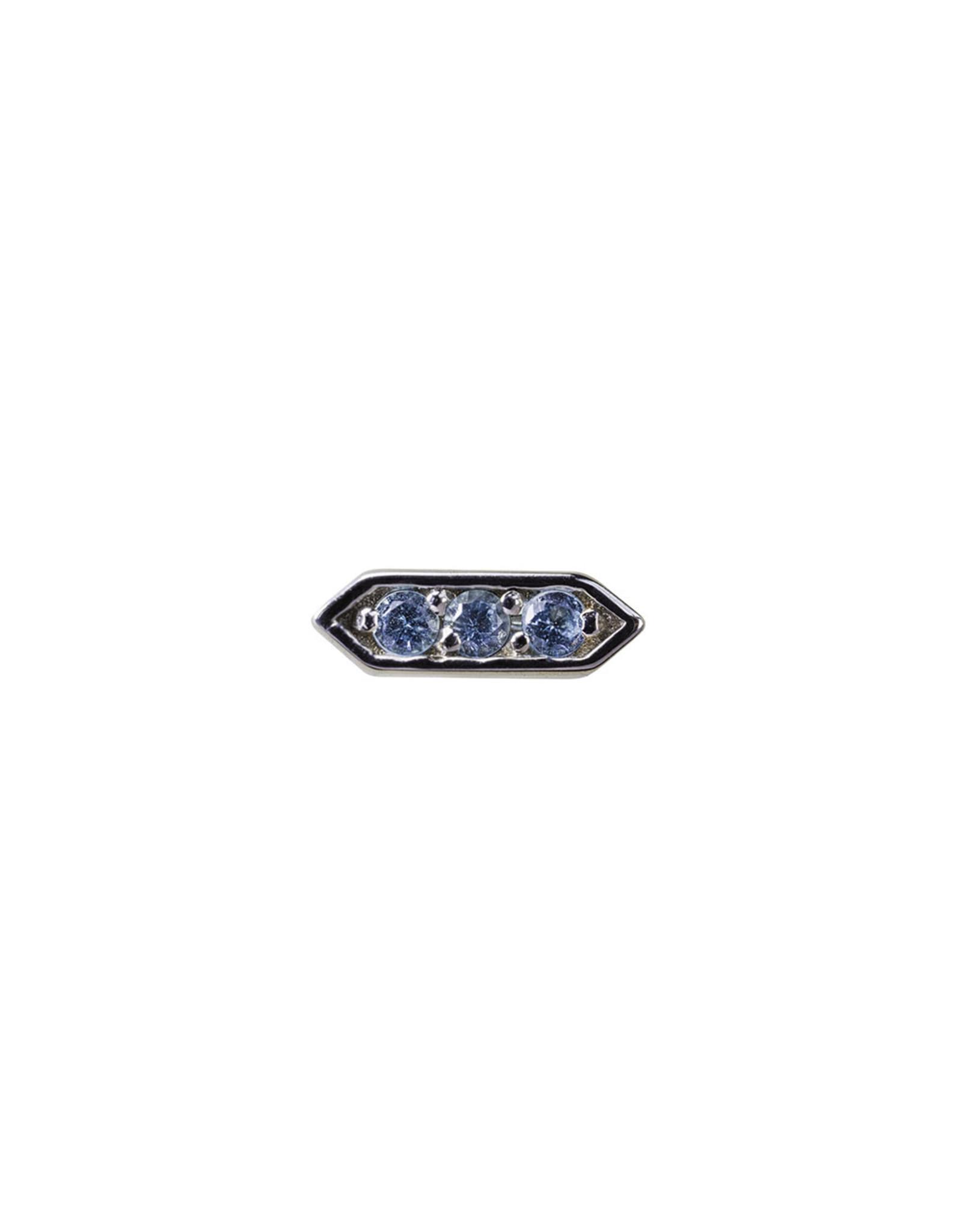 "BVLA BVLA white gold ""Sillan"" press fit end with 3x 1.25 AA Swiss Blue Topaz"