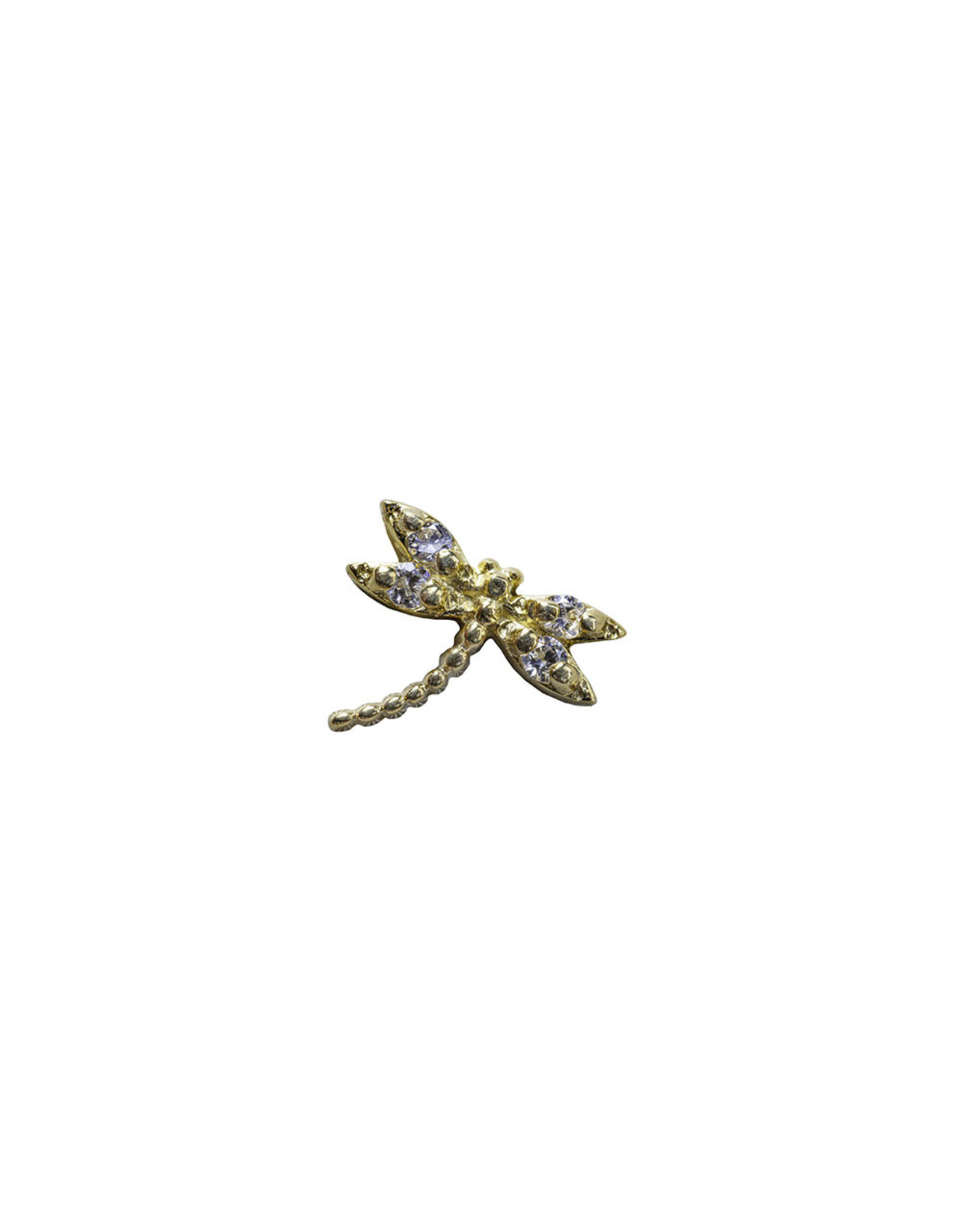 """BVLA BVLA yellow gold """"Damselfly"""" threaded end with 4x 1.0 CZ. Curved left"""