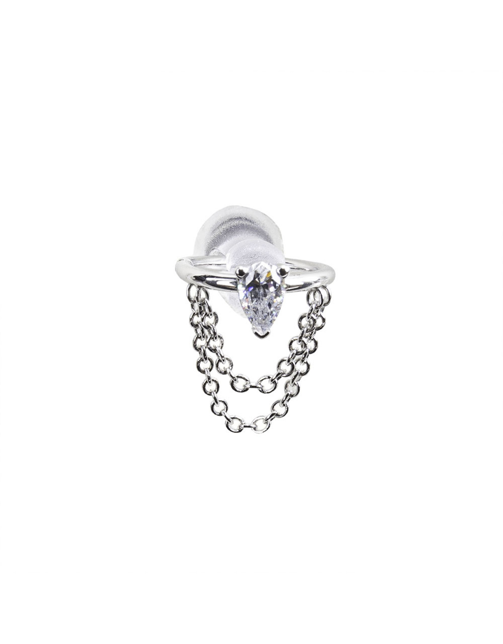 """BVLA BVLA 18g 9/32 white gold """"Call Me!"""" seam ring with 4x2.45 CZ pear and cable chain"""