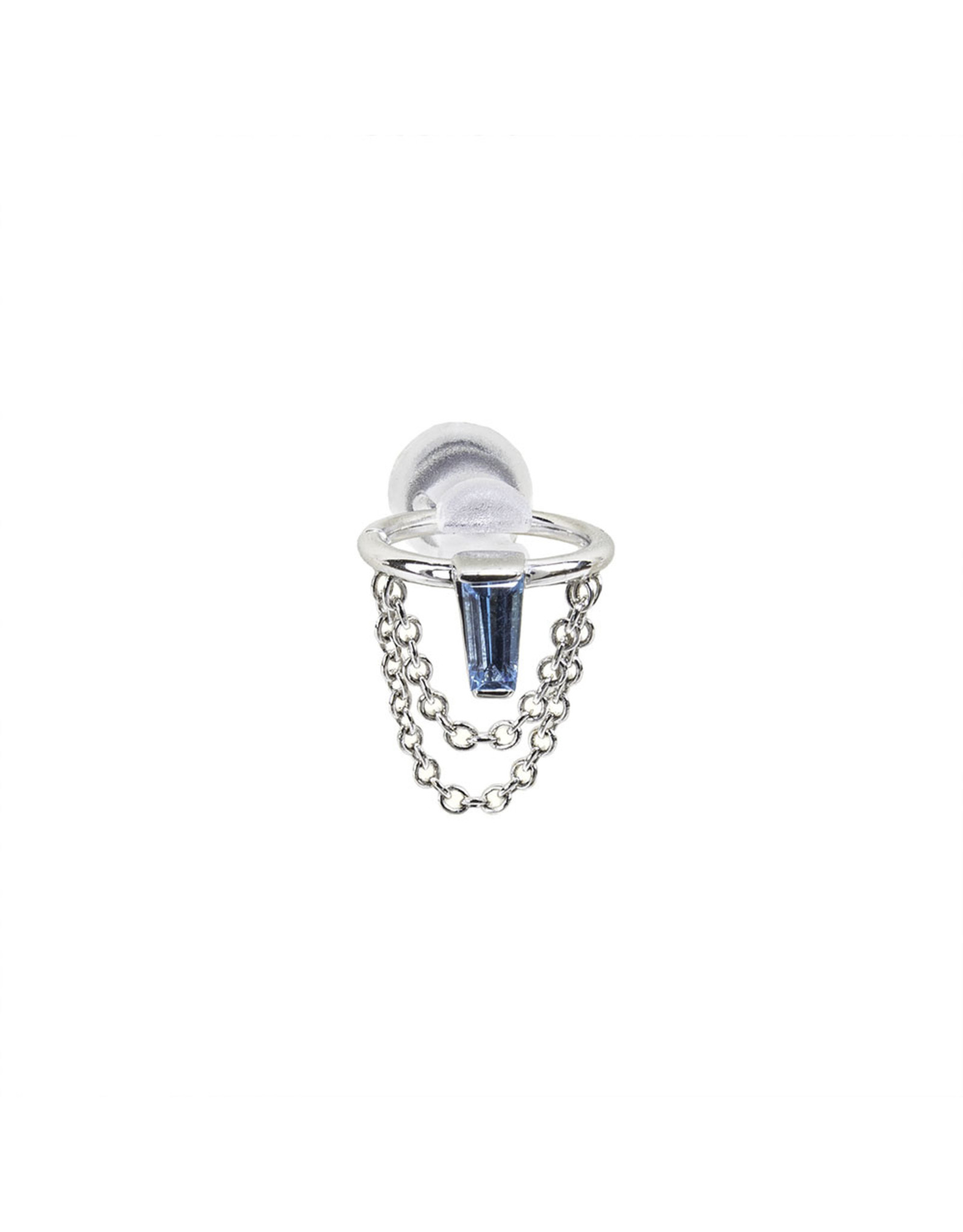 """BVLA BVLA 18g 9/32 white gold """"Sunday!"""" seam ring with 4x2x1 Swiss Blue Topaz baguette and cable chain"""