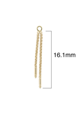 """LeRoi LeRoi solid 14 karat gold """"Meander II"""" chain with double dangle. 16.1mm length on 16g jump ring"""